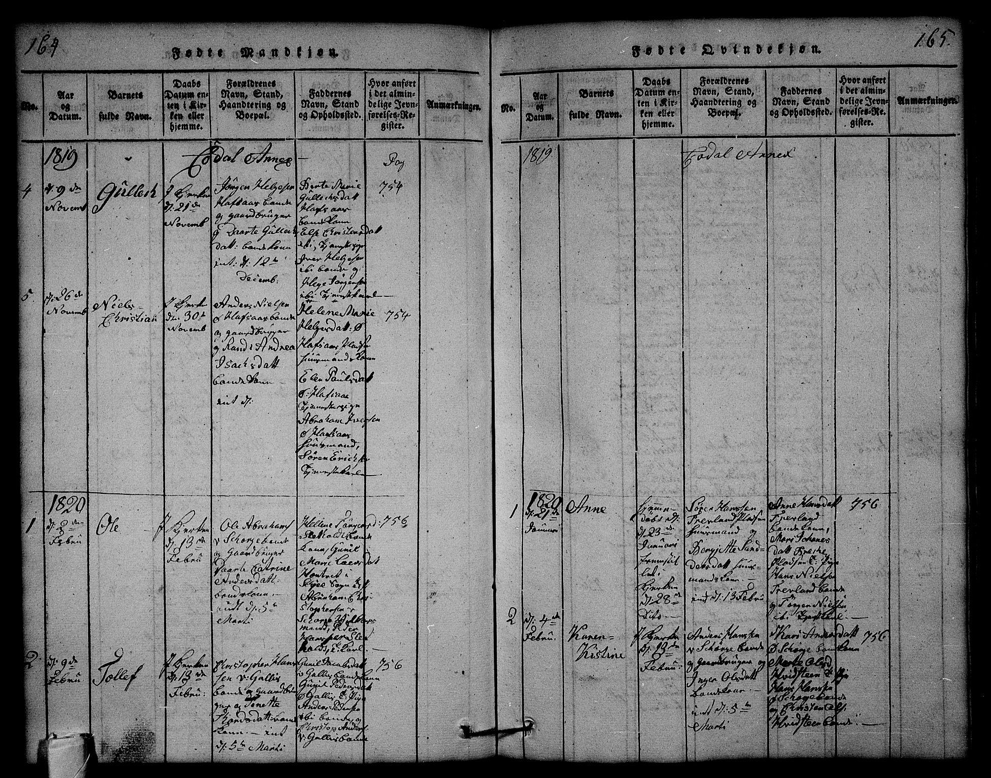 SAKO, Andebu kirkebøker, G/Ga/L0001: Klokkerbok nr. I 1 /3, 1815-1823, s. 164-165