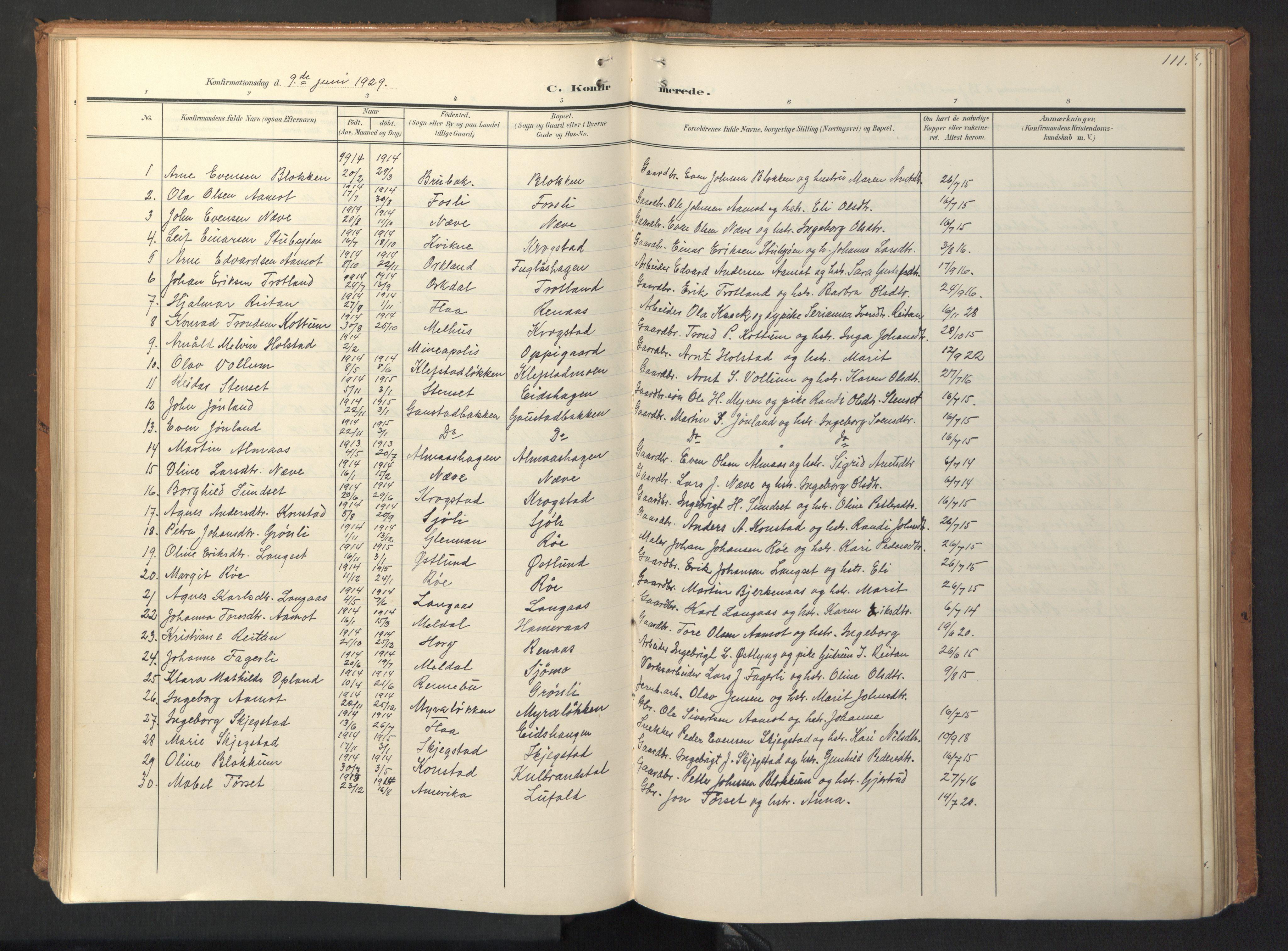 SAT, Ministerialprotokoller, klokkerbøker og fødselsregistre - Sør-Trøndelag, 694/L1128: Ministerialbok nr. 694A02, 1906-1931, s. 111