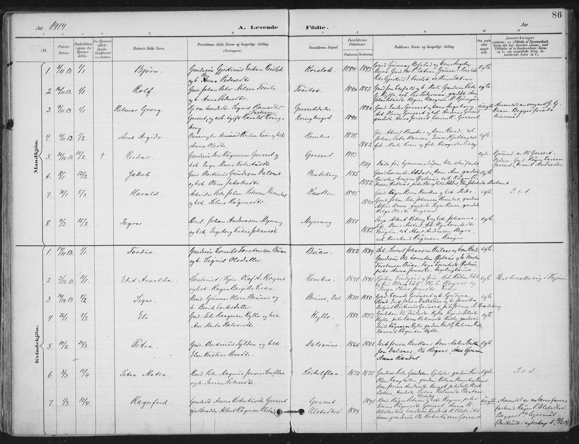 SAT, Ministerialprotokoller, klokkerbøker og fødselsregistre - Nord-Trøndelag, 703/L0031: Ministerialbok nr. 703A04, 1893-1914, s. 86