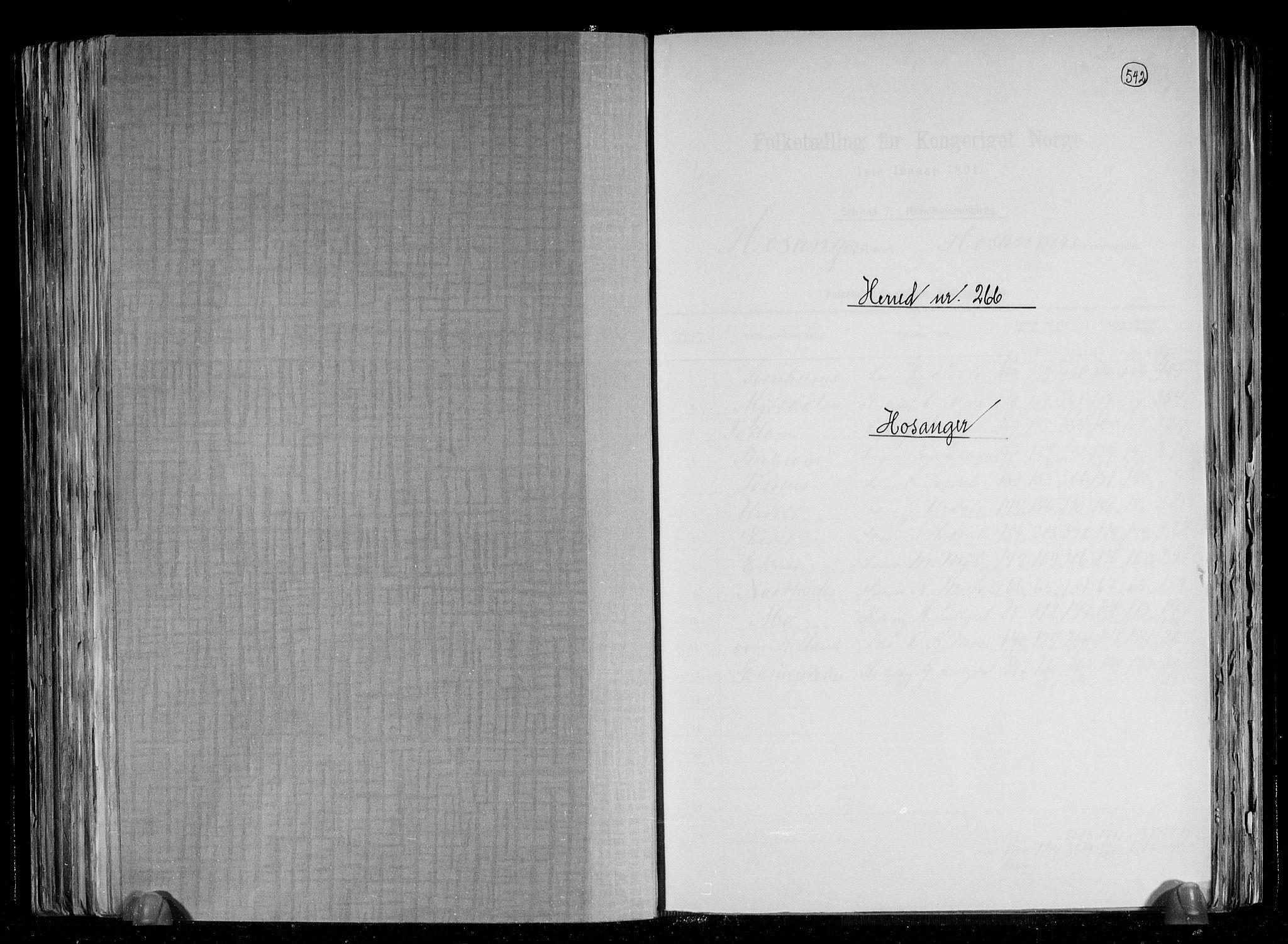 RA, Folketelling 1891 for 1253 Hosanger herred, 1891, s. 1