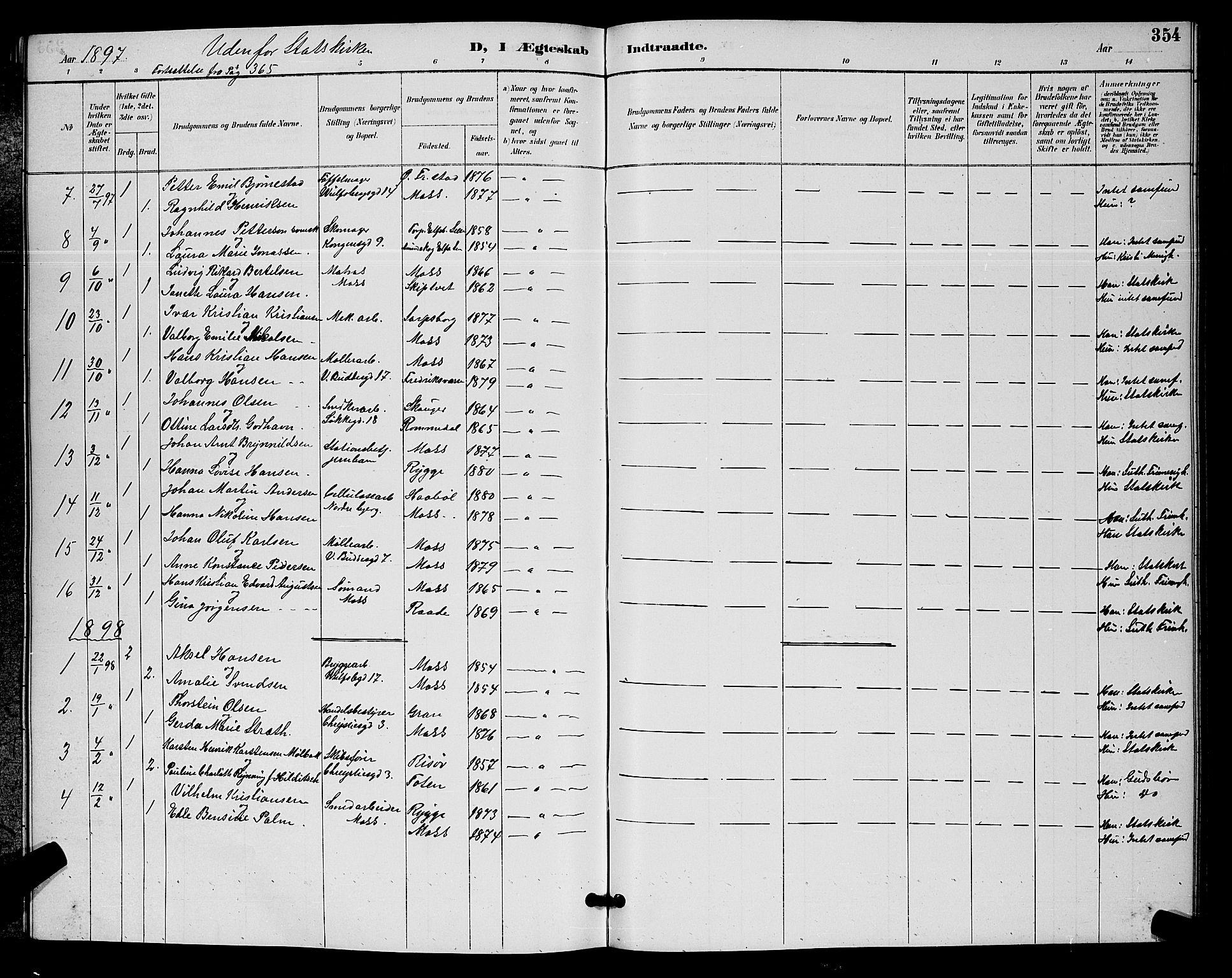 SAO, Moss prestekontor Kirkebøker, G/Ga/L0006: Klokkerbok nr. I 6, 1889-1900, s. 354