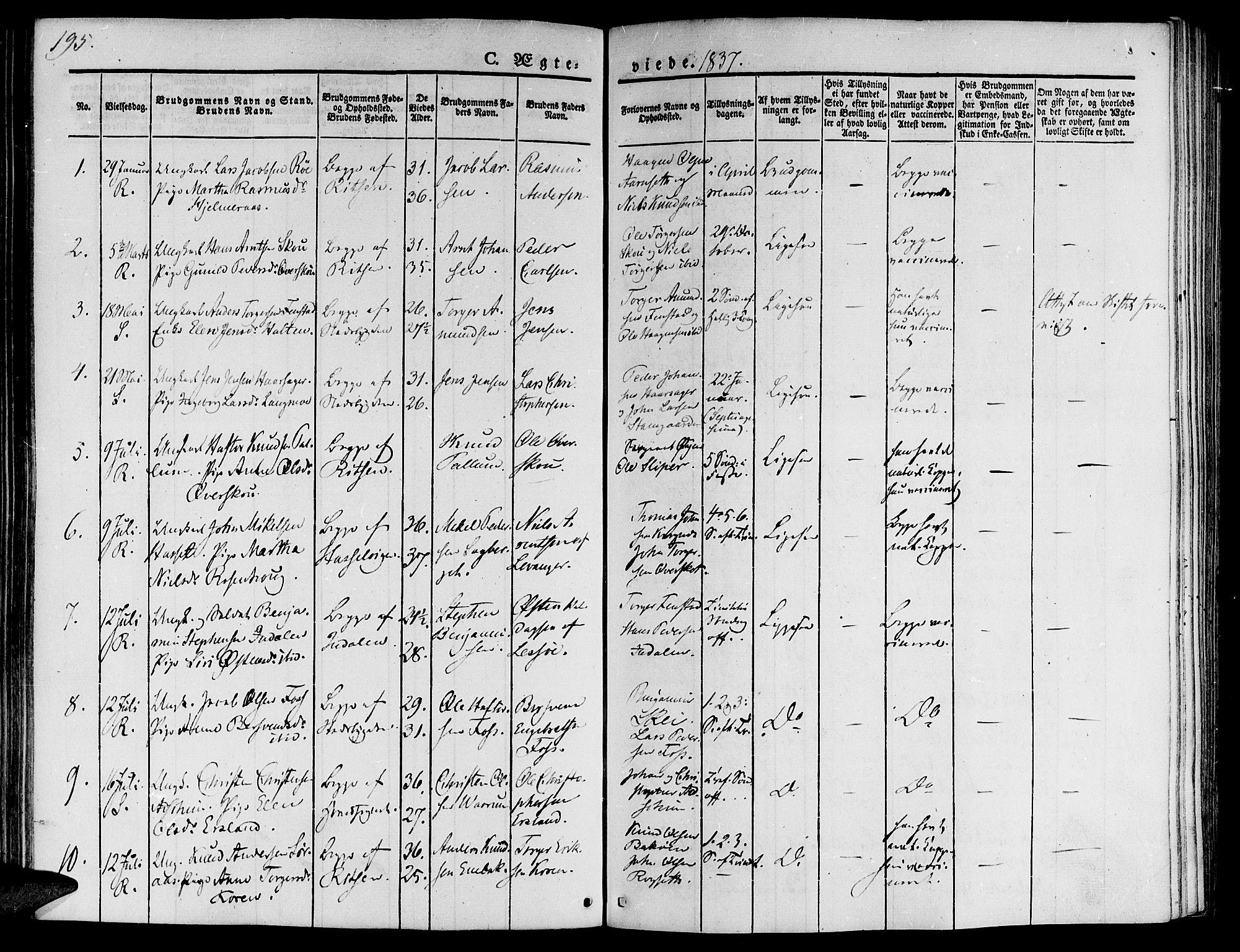 SAT, Ministerialprotokoller, klokkerbøker og fødselsregistre - Sør-Trøndelag, 646/L0610: Ministerialbok nr. 646A08, 1837-1847, s. 195