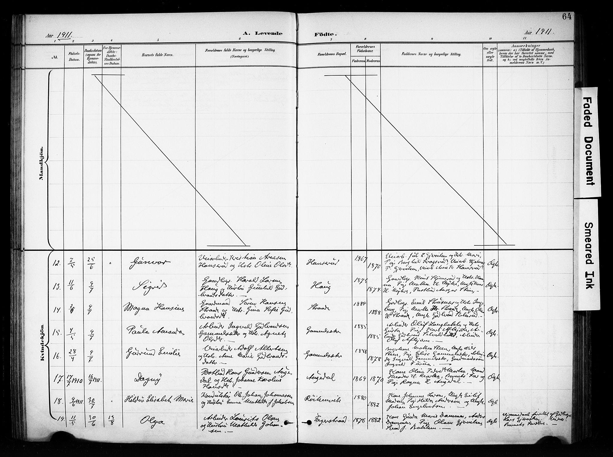 SAH, Brandbu prestekontor, Ministerialbok nr. 1, 1900-1912, s. 64