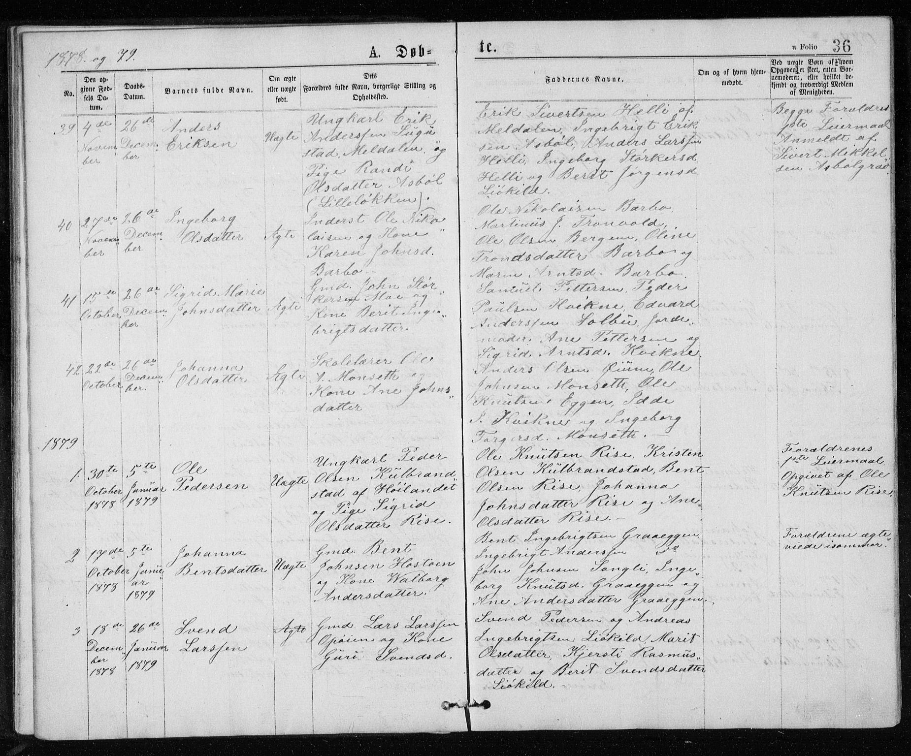 SAT, Ministerialprotokoller, klokkerbøker og fødselsregistre - Sør-Trøndelag, 671/L0843: Klokkerbok nr. 671C02, 1873-1892, s. 36