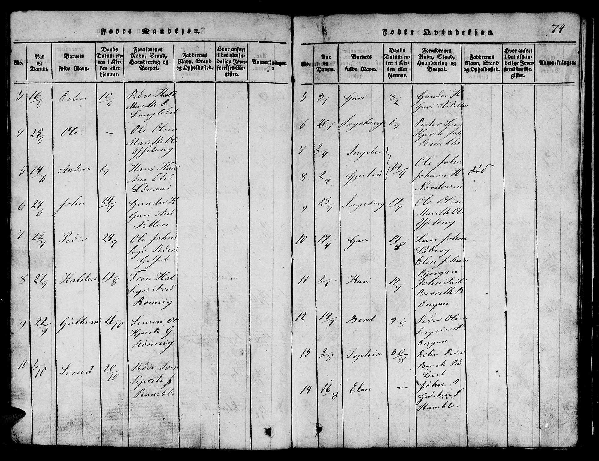 SAT, Ministerialprotokoller, klokkerbøker og fødselsregistre - Sør-Trøndelag, 685/L0976: Klokkerbok nr. 685C01, 1817-1878, s. 74
