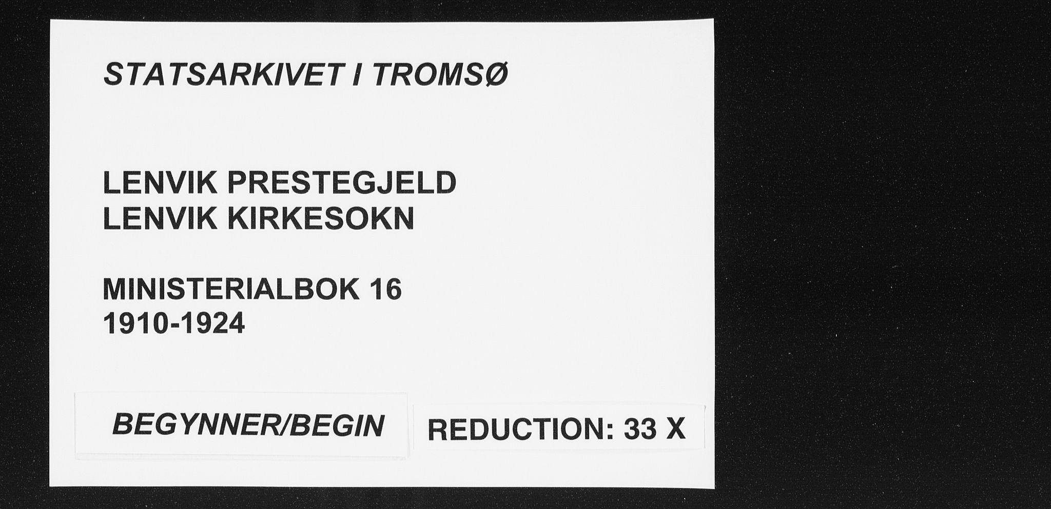 SATØ, Lenvik sokneprestembete, H/Ha: Ministerialbok nr. 16, 1910-1924