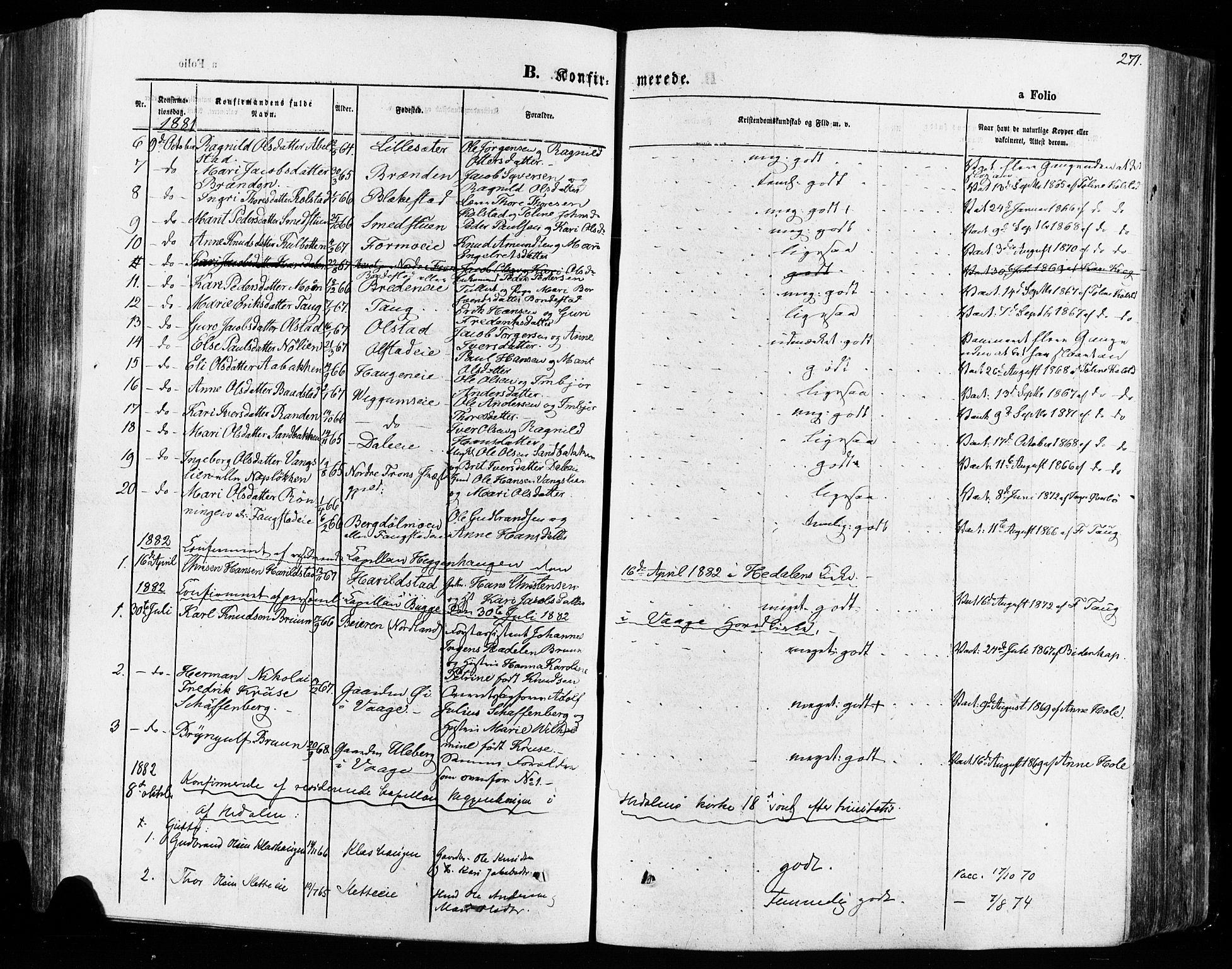 SAH, Vågå prestekontor, Ministerialbok nr. 7 /1, 1872-1886, s. 271