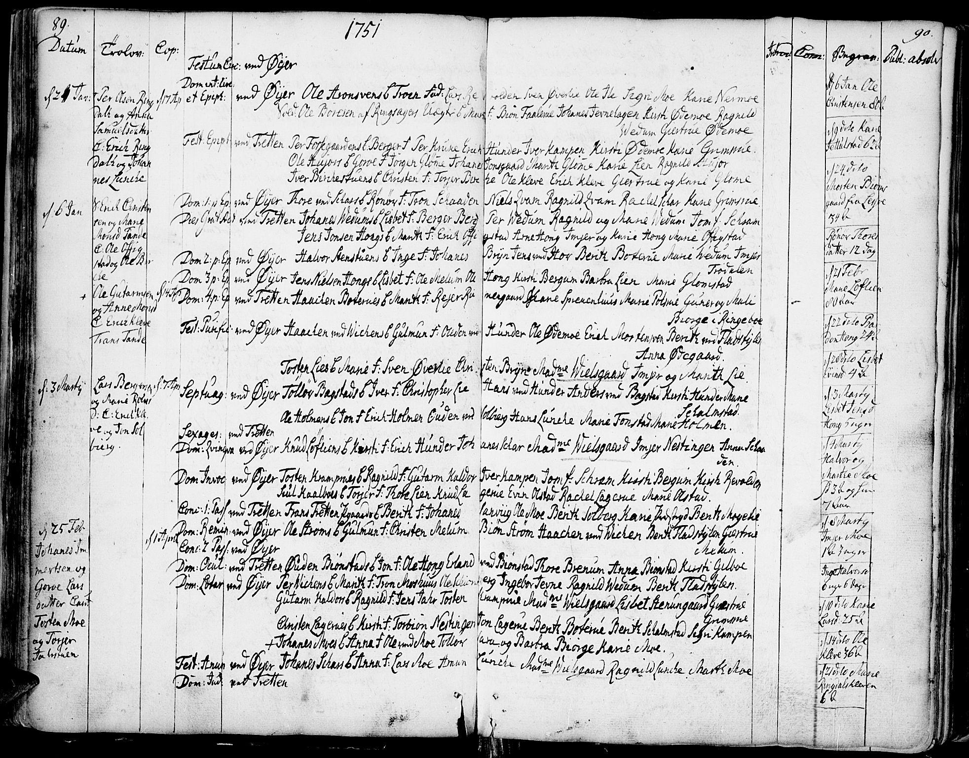 SAH, Øyer prestekontor, Ministerialbok nr. 2, 1733-1784, s. 89-90