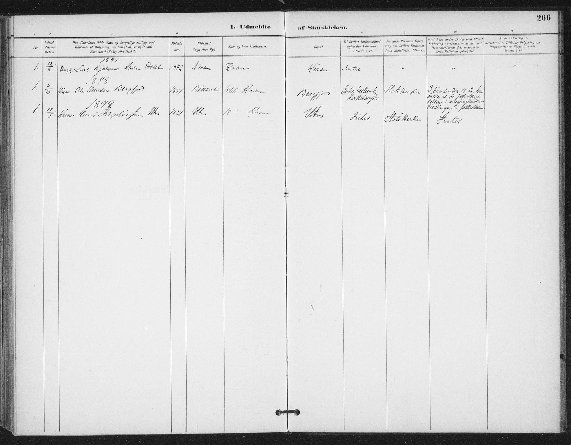 SAT, Ministerialprotokoller, klokkerbøker og fødselsregistre - Sør-Trøndelag, 657/L0708: Ministerialbok nr. 657A09, 1894-1904, s. 266