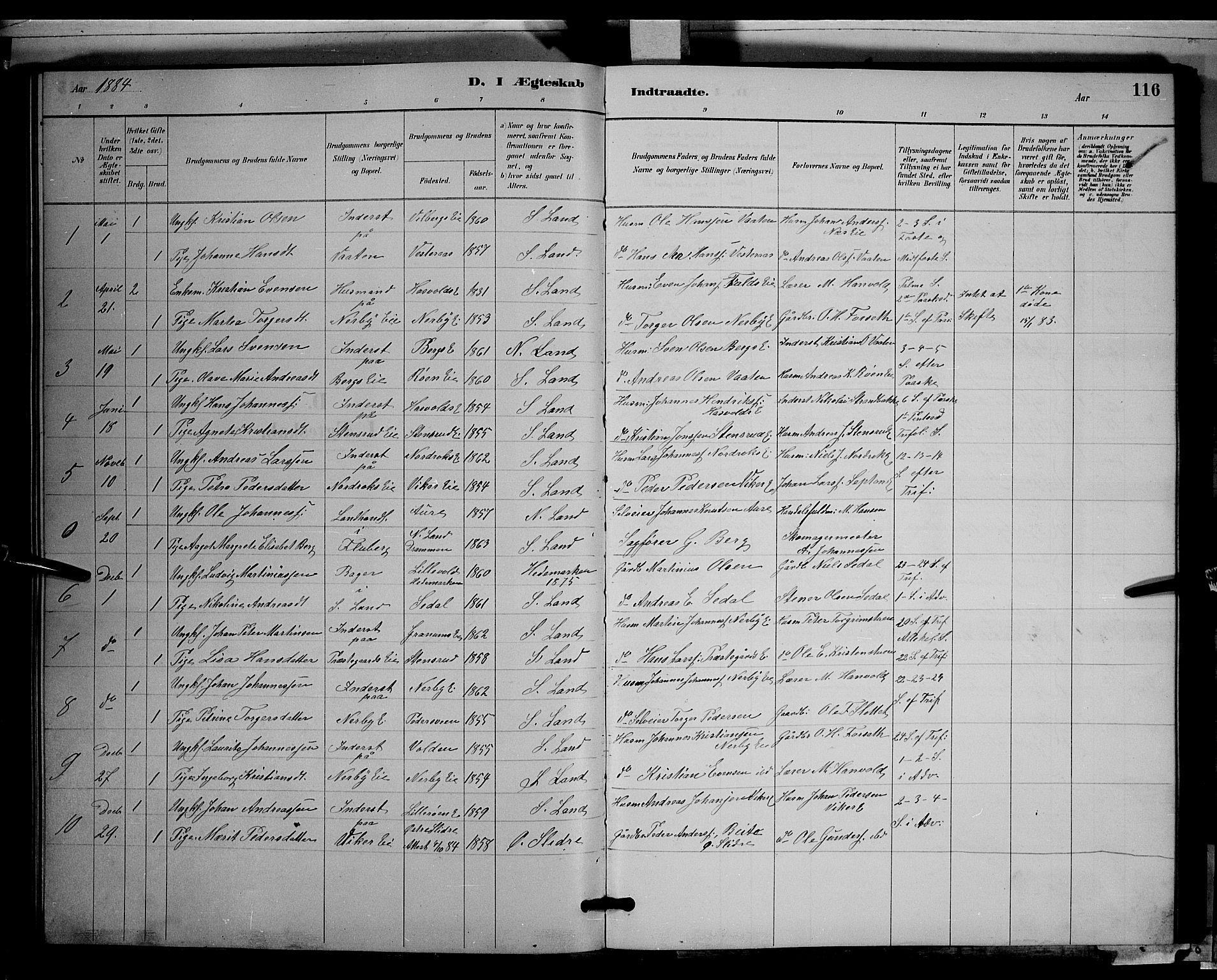 SAH, Søndre Land prestekontor, L/L0003: Klokkerbok nr. 3, 1884-1902, s. 116