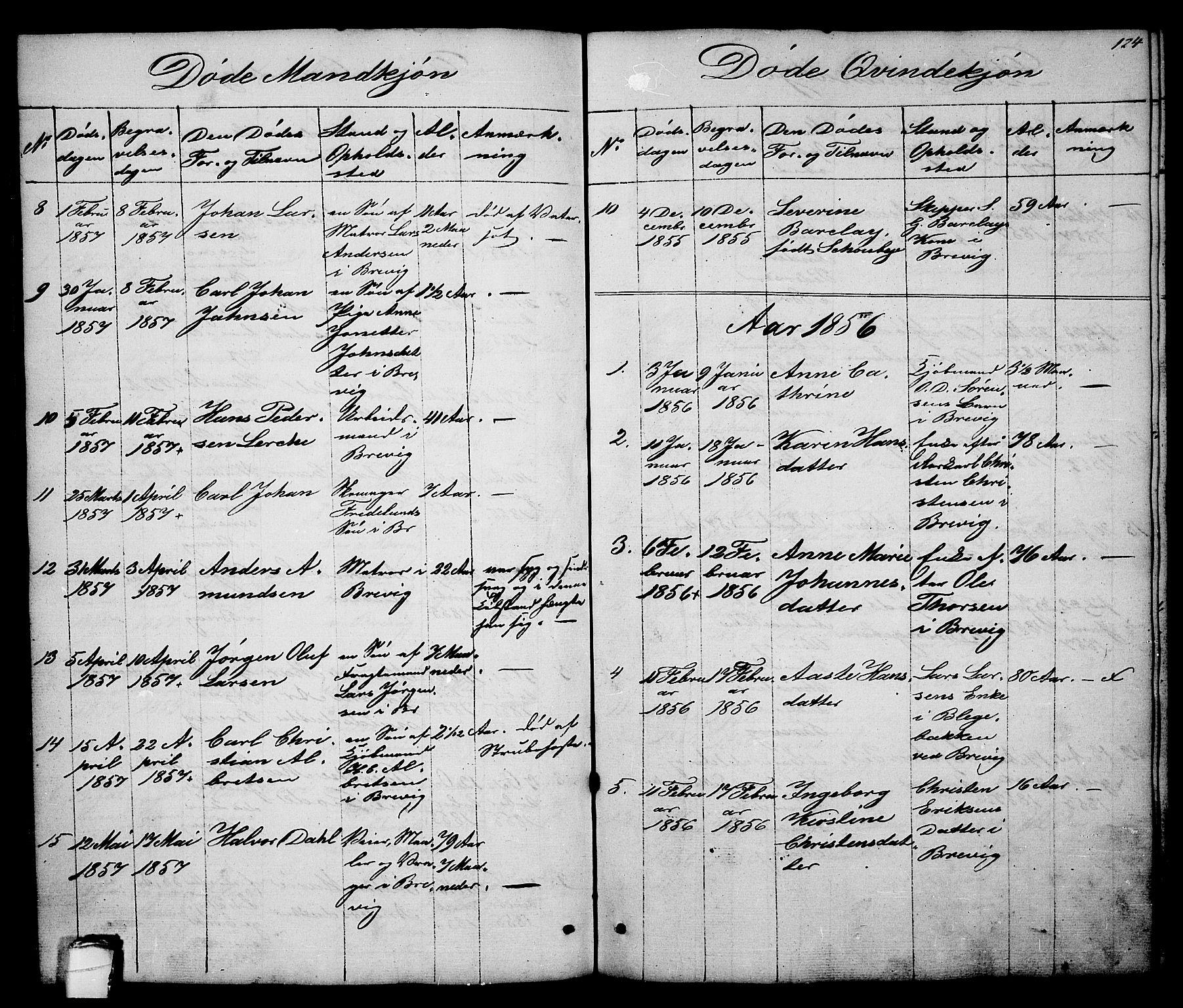 SAKO, Brevik kirkebøker, G/Ga/L0002: Klokkerbok nr. 2, 1846-1865, s. 124
