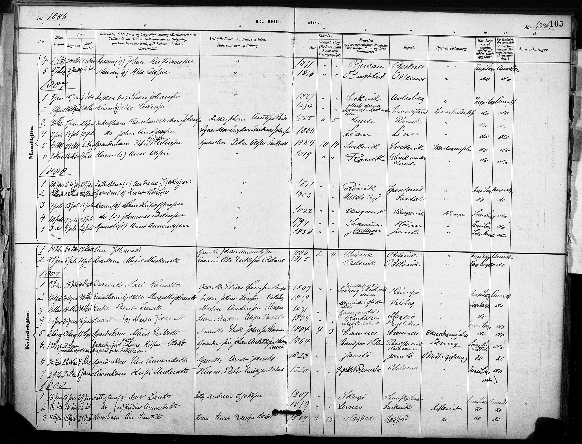 SAT, Ministerialprotokoller, klokkerbøker og fødselsregistre - Sør-Trøndelag, 633/L0518: Ministerialbok nr. 633A01, 1884-1906, s. 165