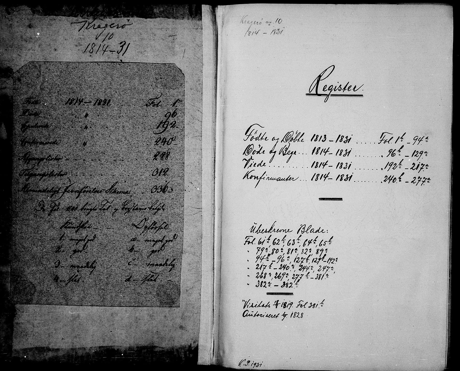 SAKO, Kragerø kirkebøker, F/Fa/L0004: Ministerialbok nr. 4, 1814-1831