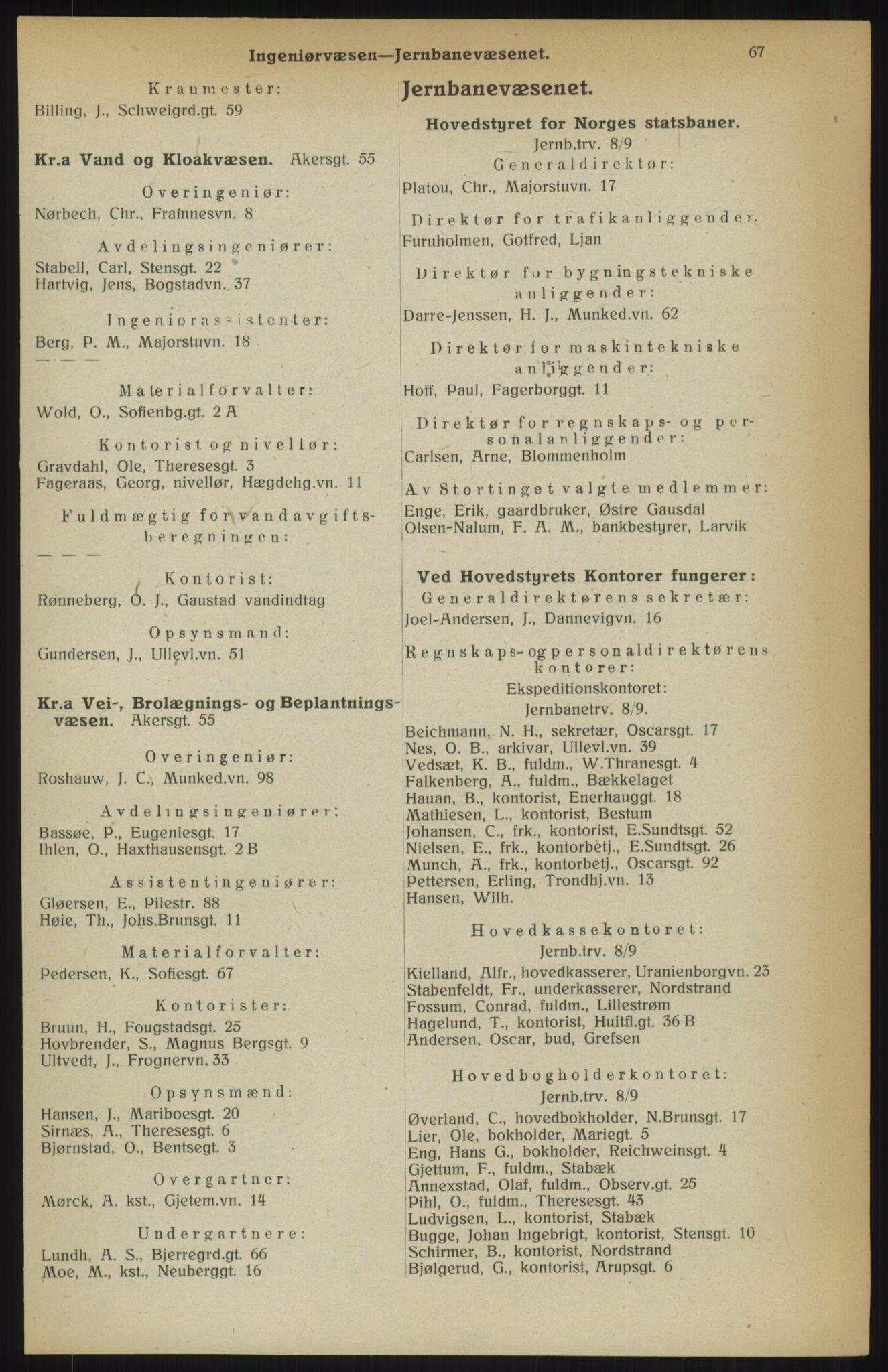 RA, Kristiania adressebok (publikasjon)*, 1914, s. 67