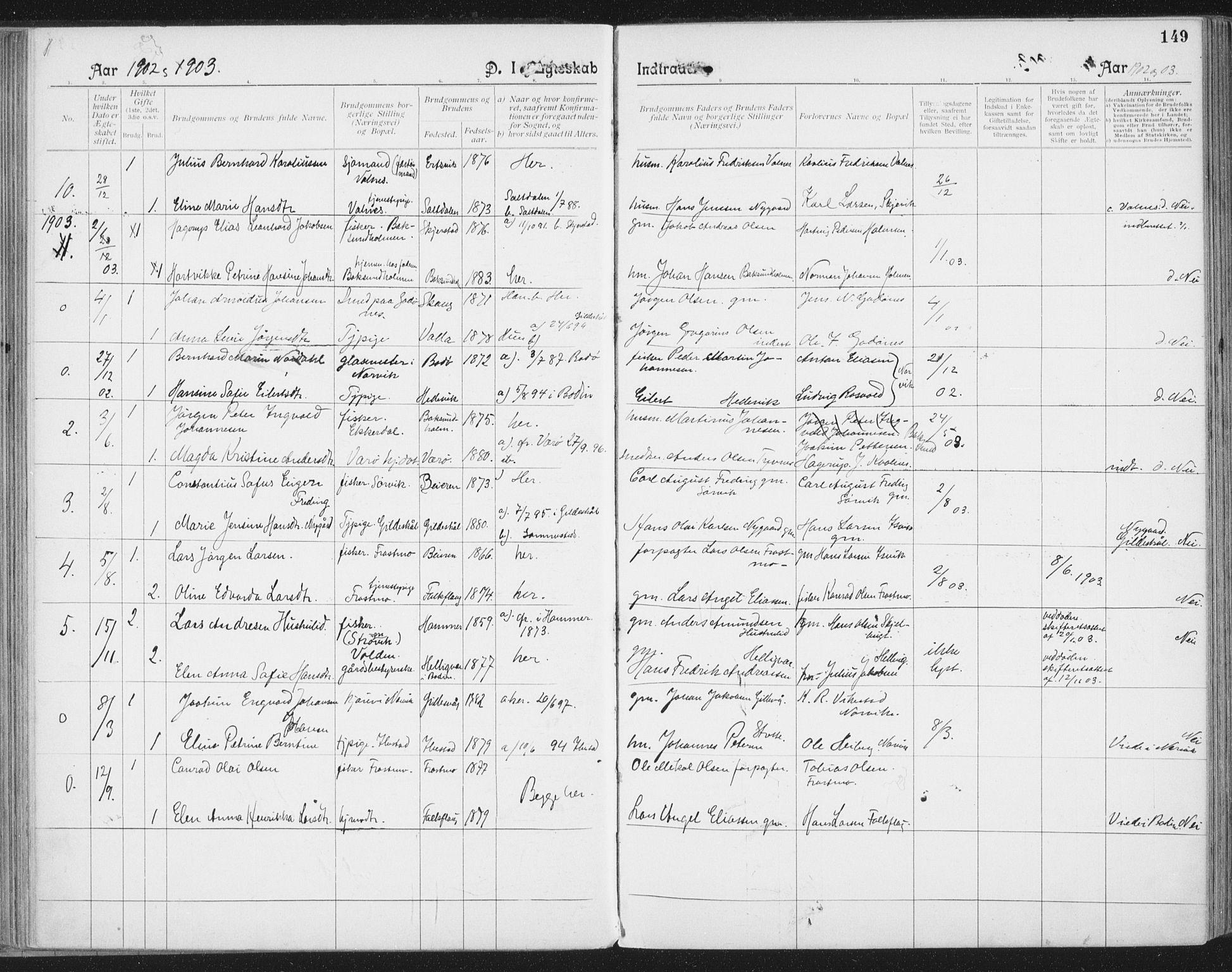 SAT, Ministerialprotokoller, klokkerbøker og fødselsregistre - Nordland, 804/L0081: Ministerialbok nr. 804A02, 1901-1915, s. 149