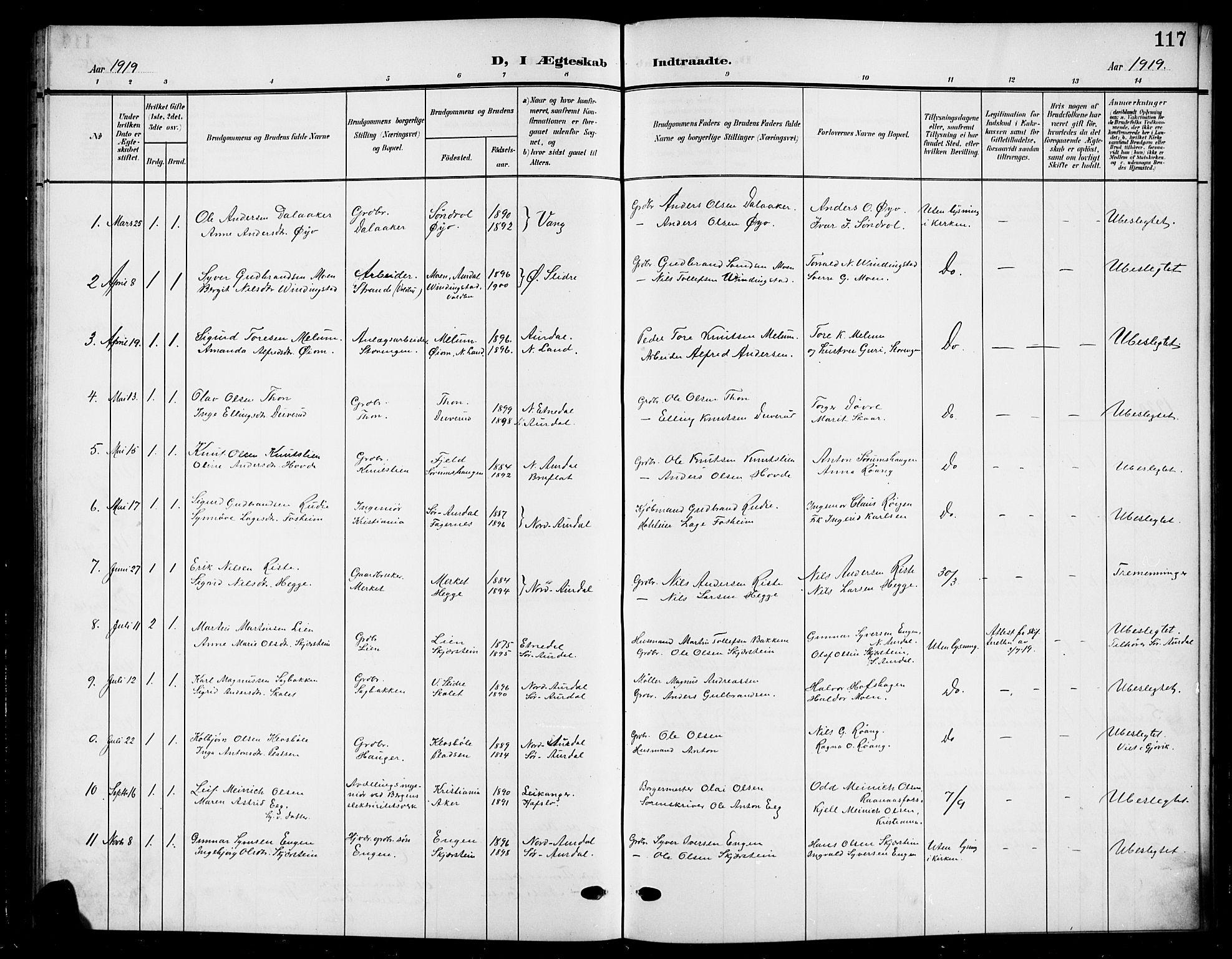 SAH, Nord-Aurdal prestekontor, Klokkerbok nr. 12, 1907-1920, s. 117