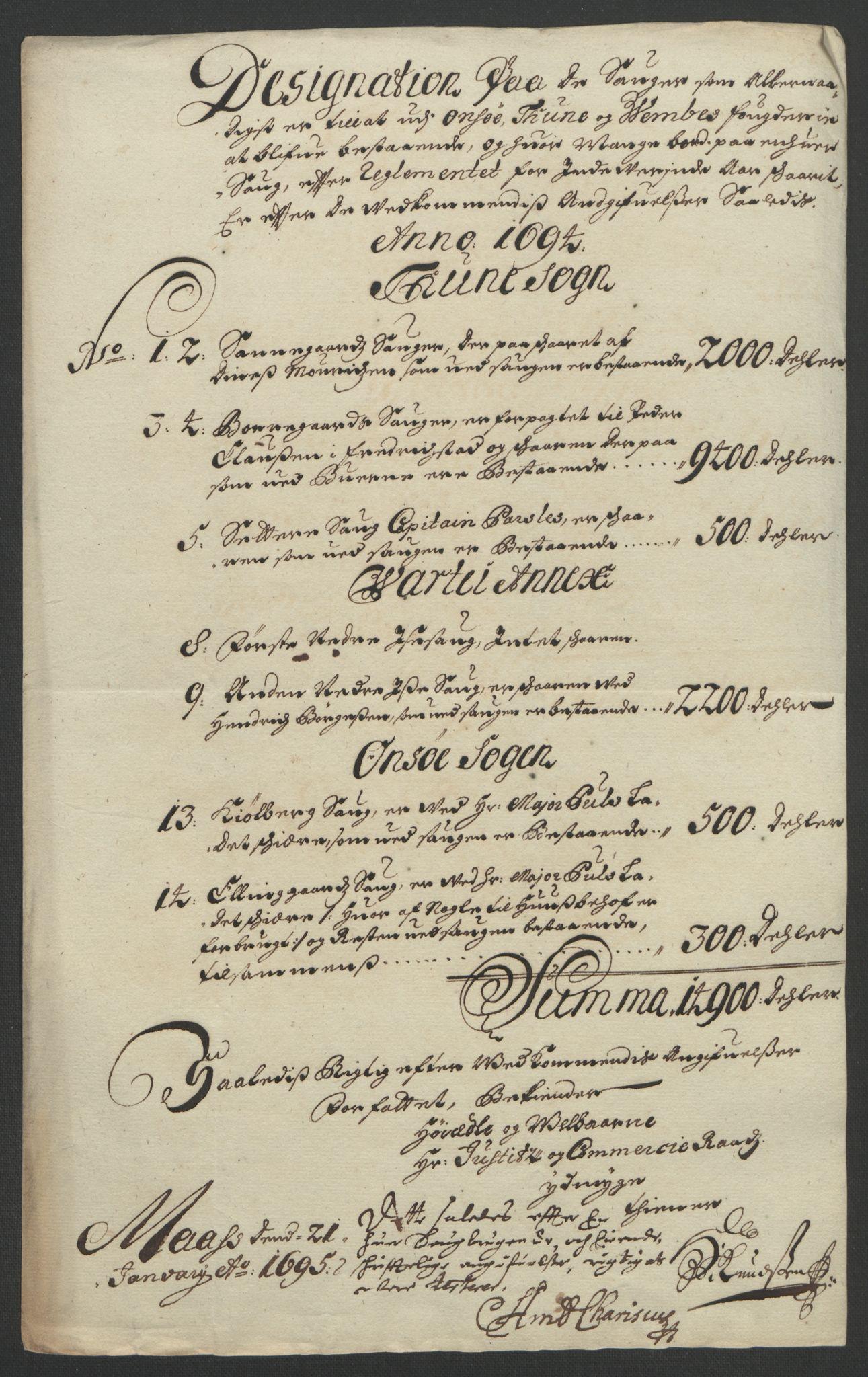 RA, Rentekammeret inntil 1814, Reviderte regnskaper, Fogderegnskap, R03/L0121: Fogderegnskap Onsøy, Tune, Veme og Åbygge fogderi, 1694, s. 242