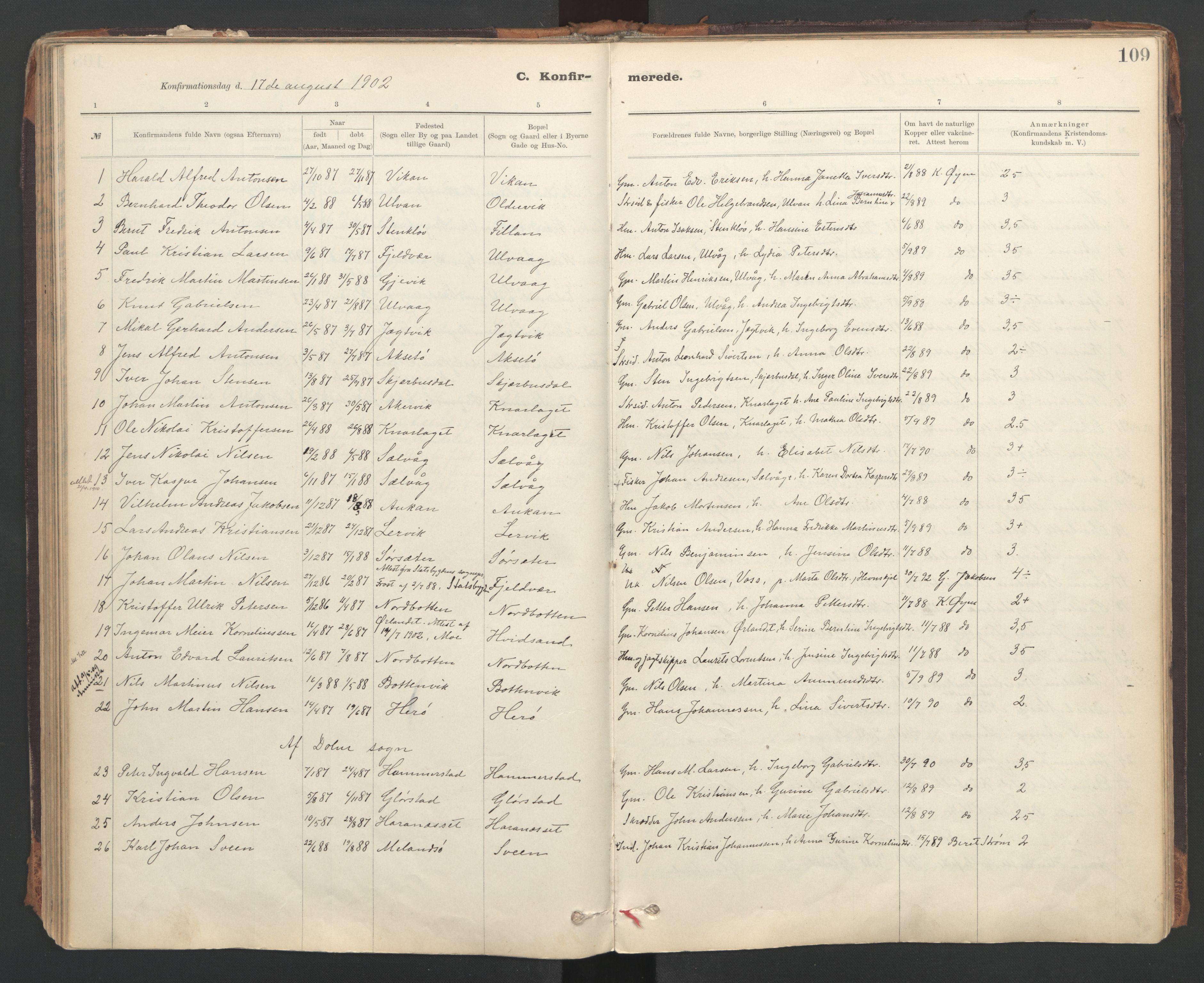 SAT, Ministerialprotokoller, klokkerbøker og fødselsregistre - Sør-Trøndelag, 637/L0559: Ministerialbok nr. 637A02, 1899-1923, s. 109