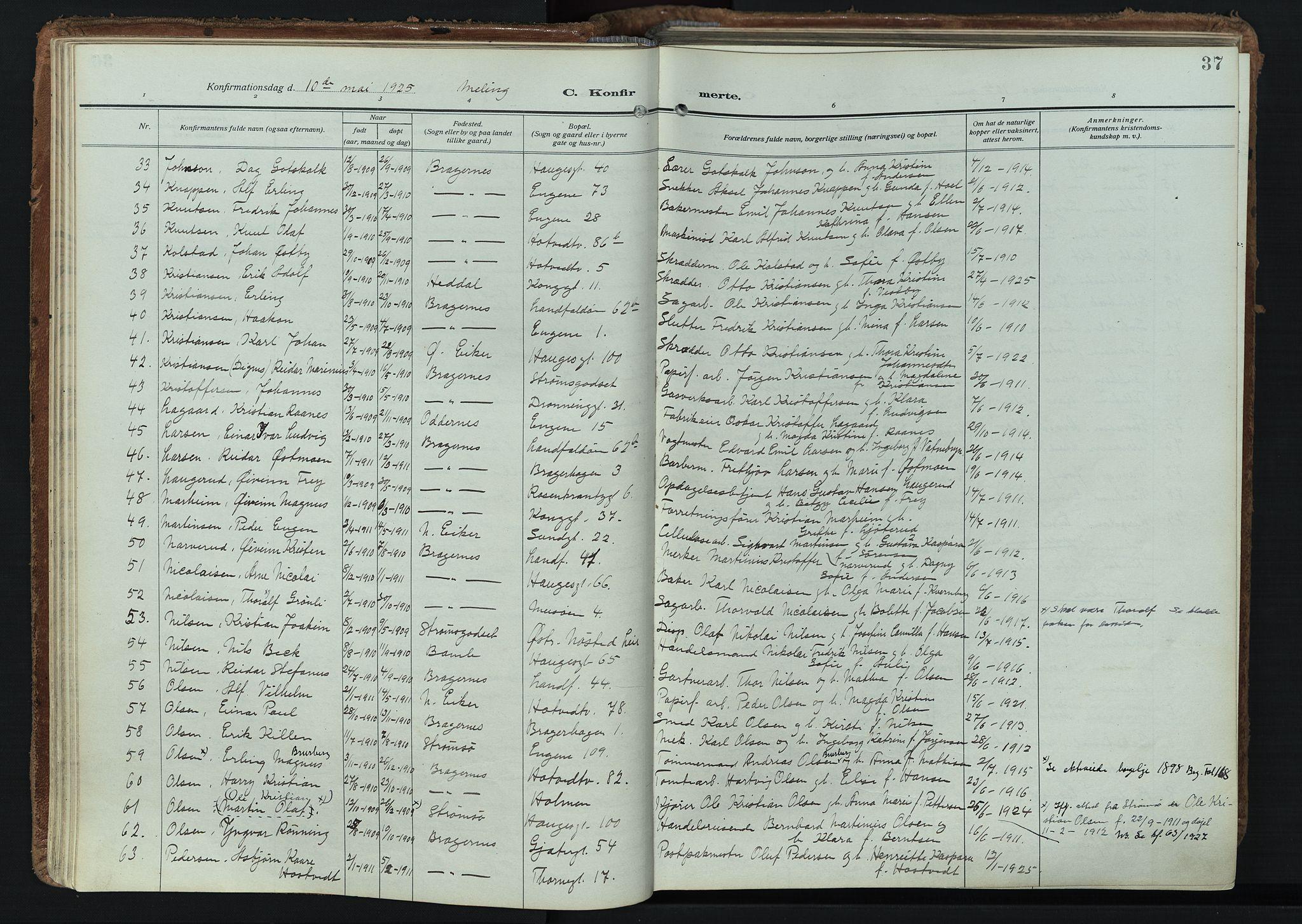 SAKO, Bragernes kirkebøker, F/Fc/L0009: Ministerialbok nr. III 9, 1921-1939, s. 37