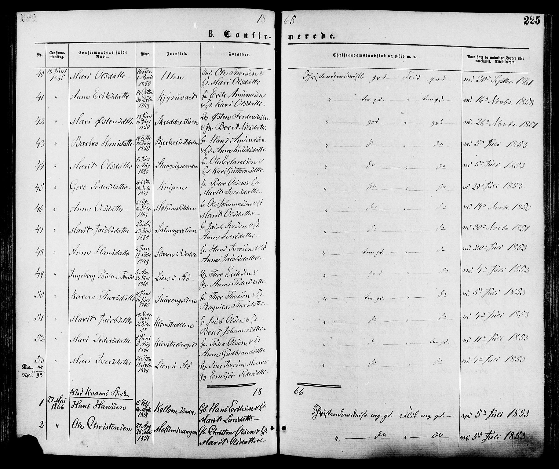 SAH, Nord-Fron prestekontor, Ministerialbok nr. 2, 1865-1883, s. 225
