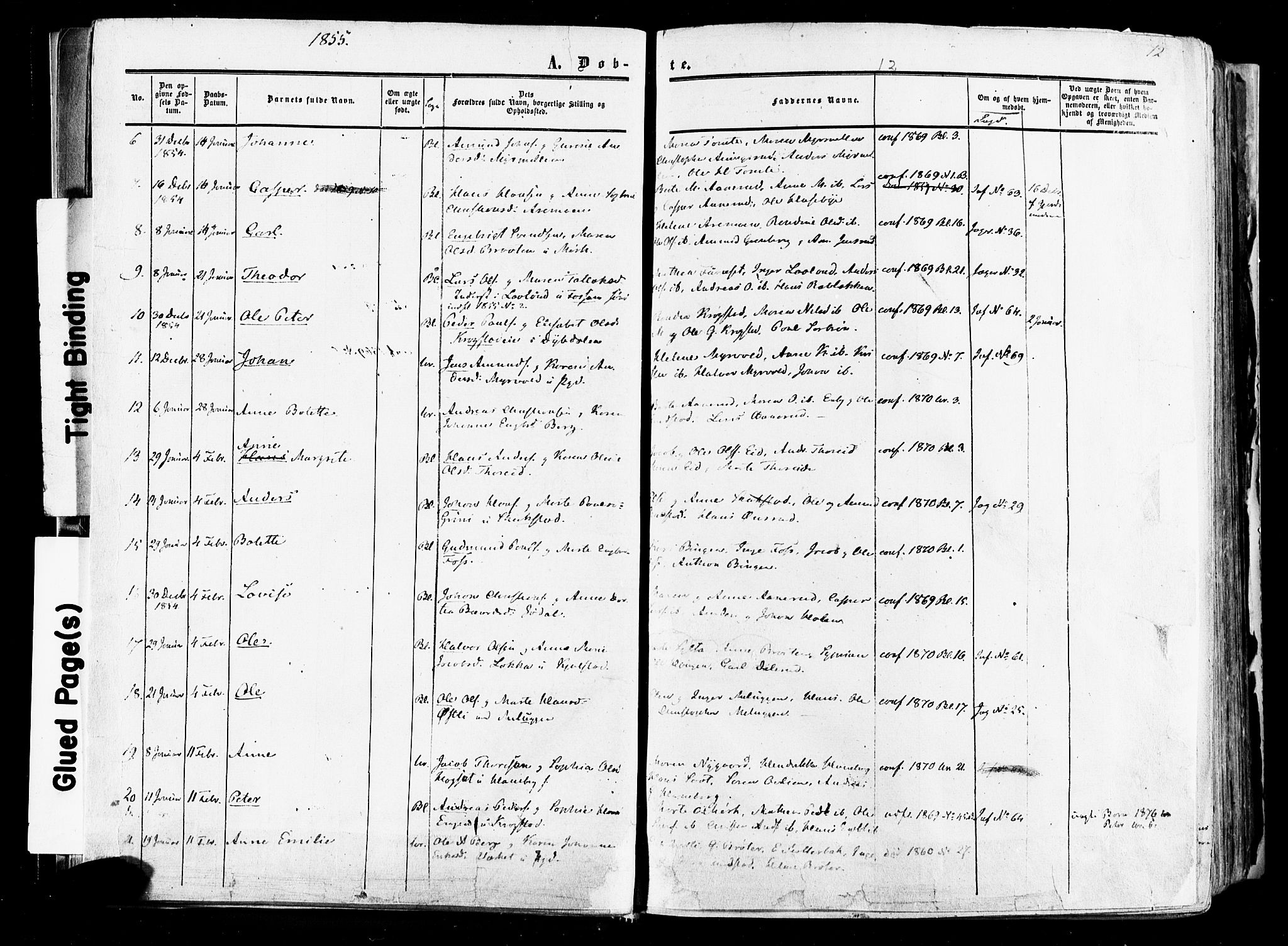 SAO, Aurskog prestekontor Kirkebøker, F/Fa/L0007: Ministerialbok nr. I 7, 1854-1877, s. 12