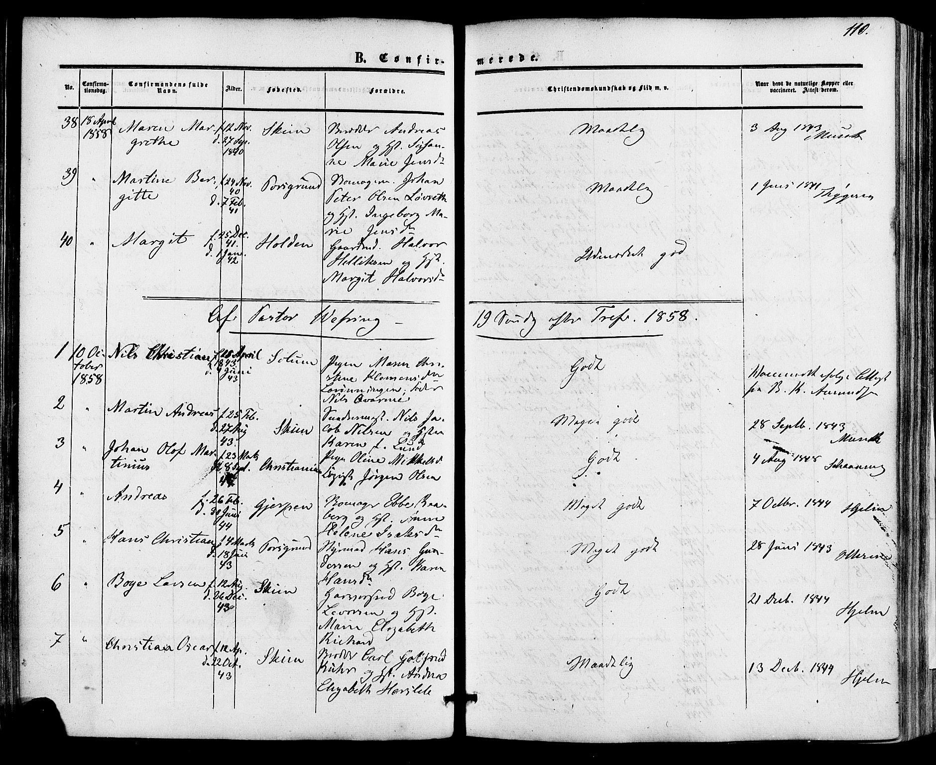 SAKO, Skien kirkebøker, F/Fa/L0007: Ministerialbok nr. 7, 1856-1865, s. 110