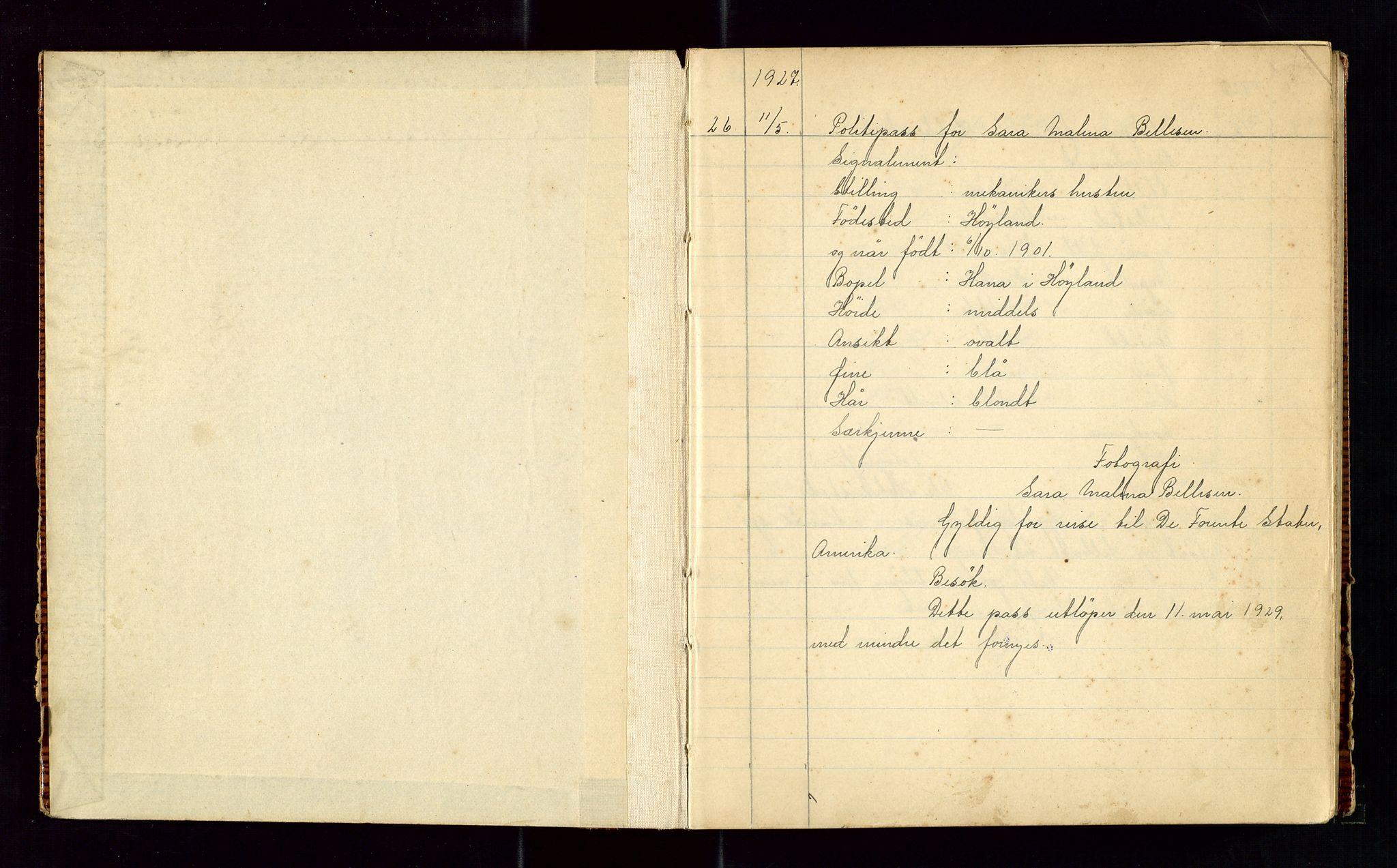 SAST, Sandnes politikammer, K/L0004: Passprotokoll, 1927-1934, s. 2