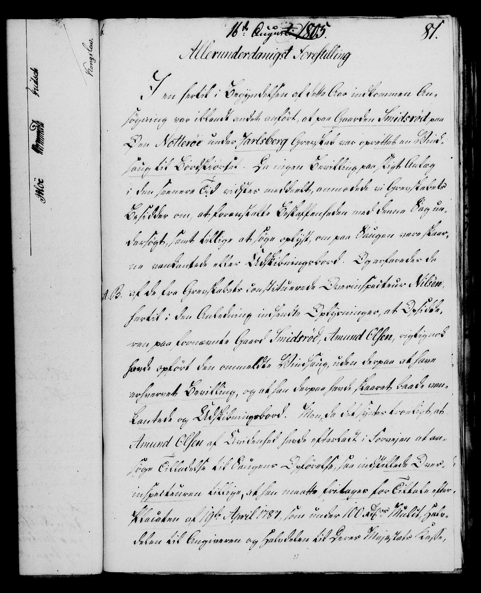 RA, Rentekammeret, Kammerkanselliet, G/Gf/Gfa/L0087: Norsk relasjons- og resolusjonsprotokoll (merket RK 52.87), 1805, s. 447