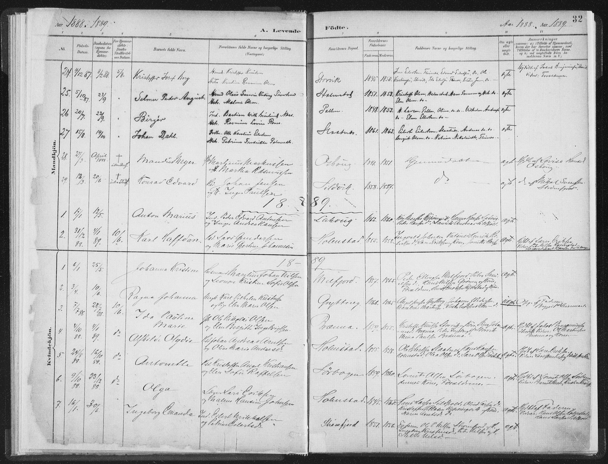 SAT, Ministerialprotokoller, klokkerbøker og fødselsregistre - Nordland, 890/L1286: Ministerialbok nr. 890A01, 1882-1902, s. 32