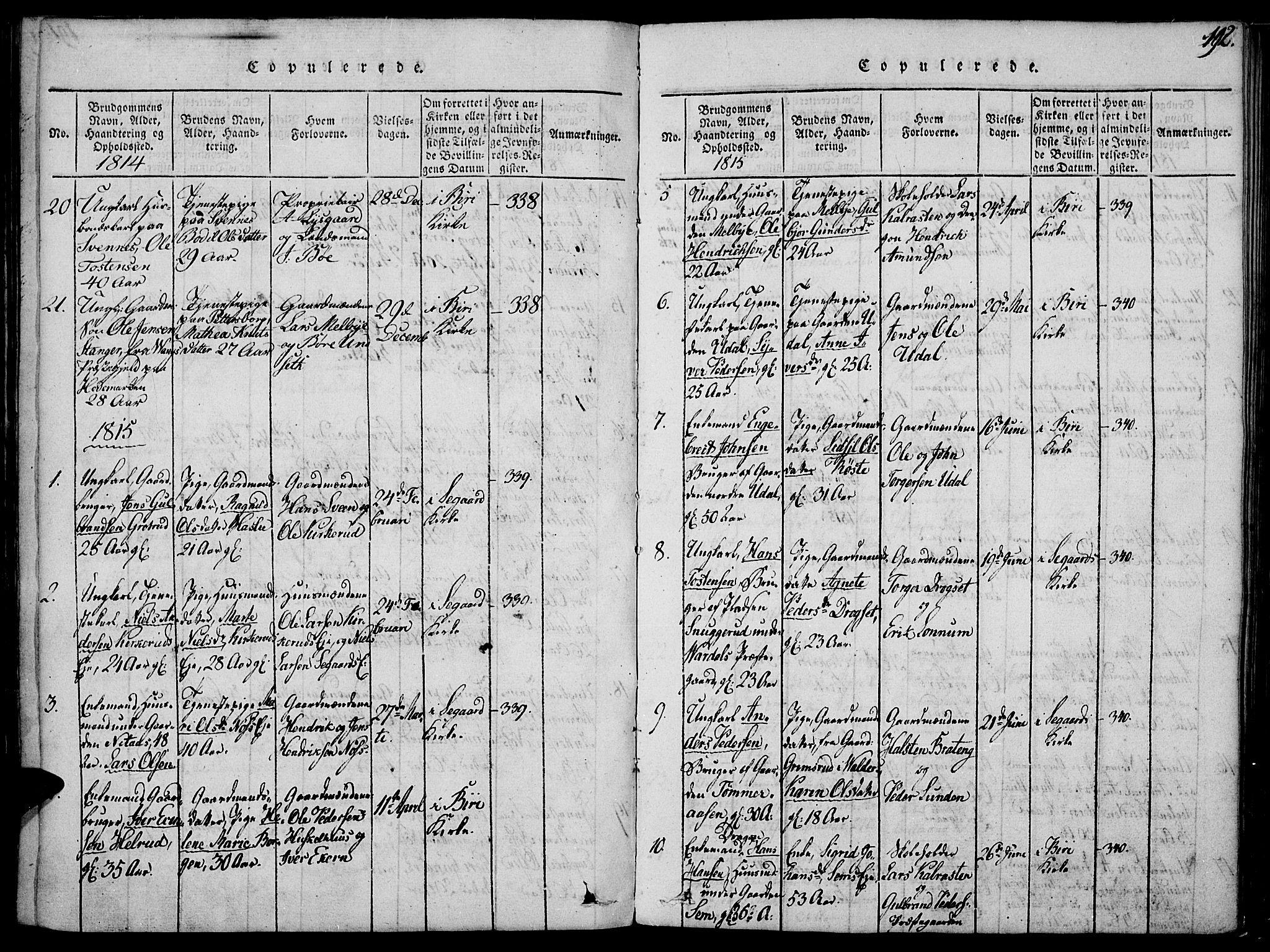 SAH, Biri prestekontor, Ministerialbok nr. 3, 1814-1828, s. 192