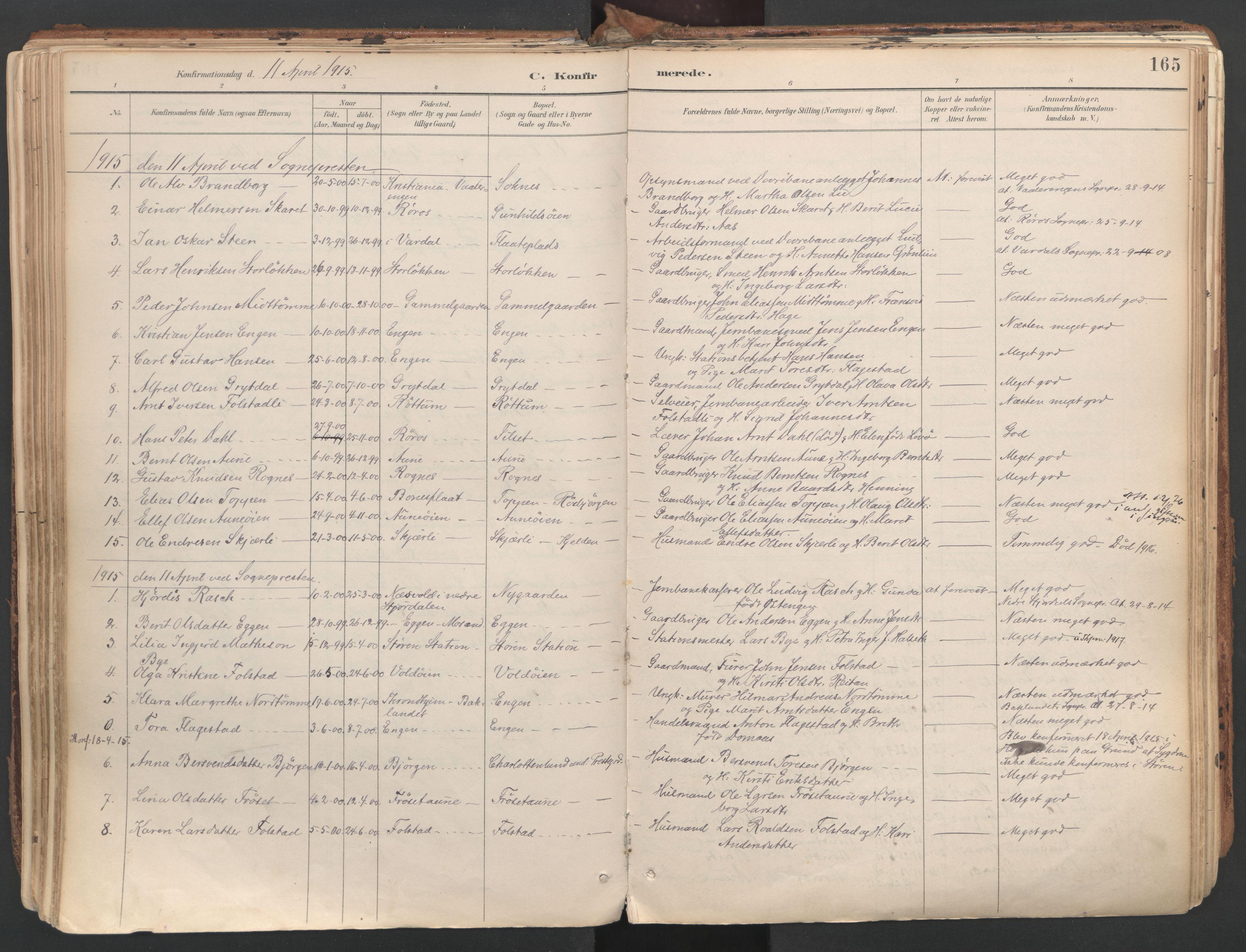 SAT, Ministerialprotokoller, klokkerbøker og fødselsregistre - Sør-Trøndelag, 687/L1004: Ministerialbok nr. 687A10, 1891-1923, s. 165