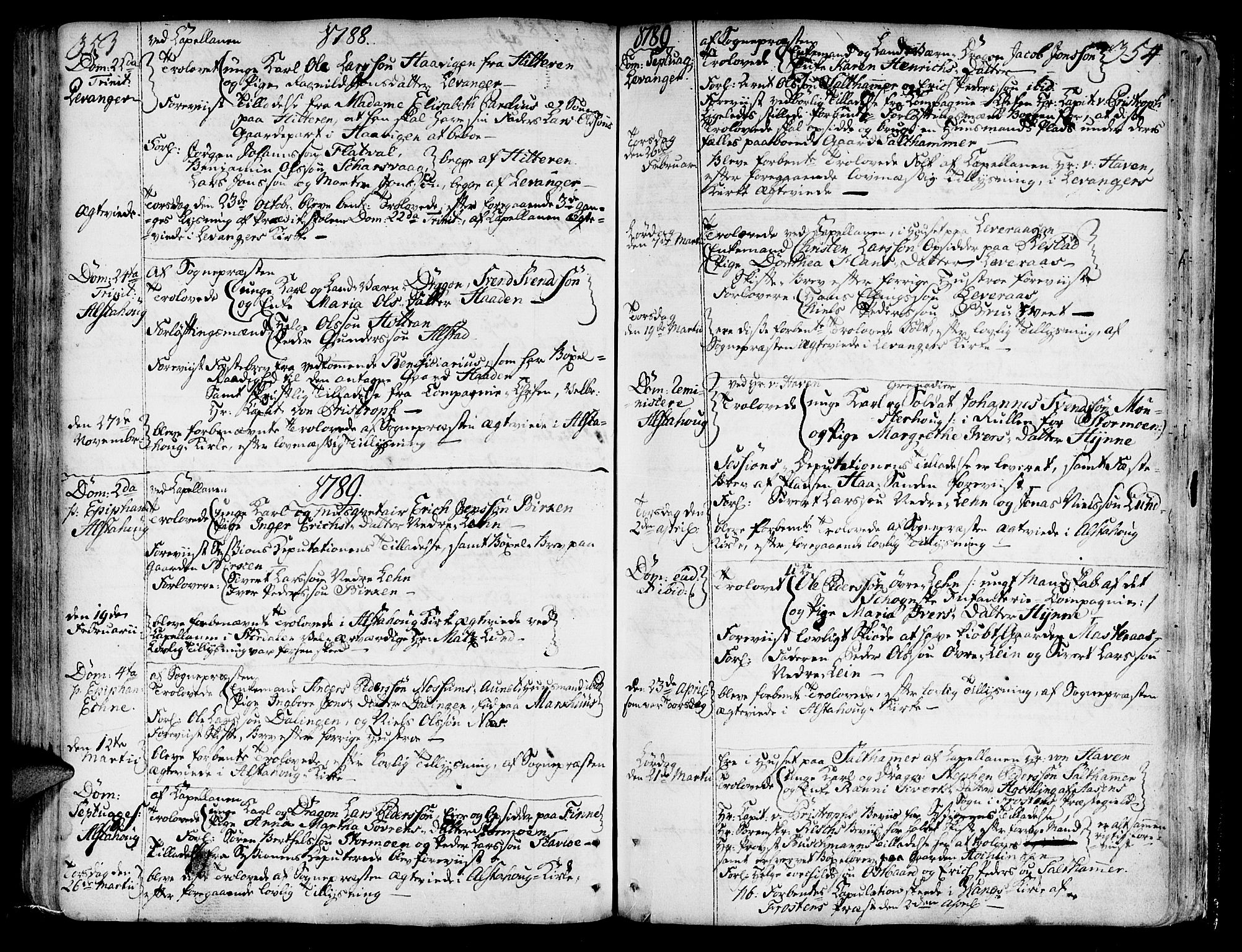 SAT, Ministerialprotokoller, klokkerbøker og fødselsregistre - Nord-Trøndelag, 717/L0141: Ministerialbok nr. 717A01, 1747-1803, s. 353-354