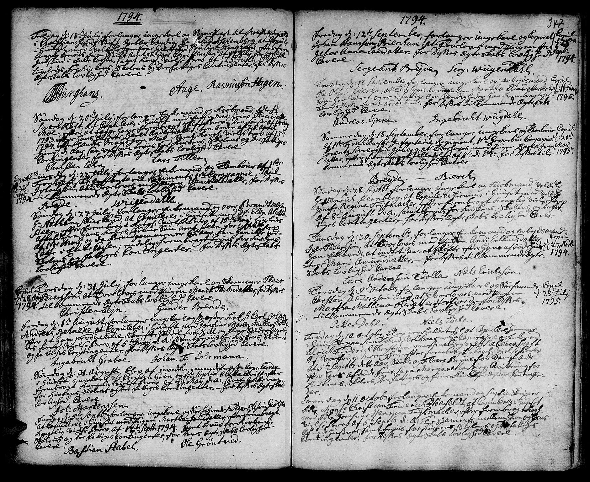 SAT, Ministerialprotokoller, klokkerbøker og fødselsregistre - Sør-Trøndelag, 601/L0038: Ministerialbok nr. 601A06, 1766-1877, s. 347