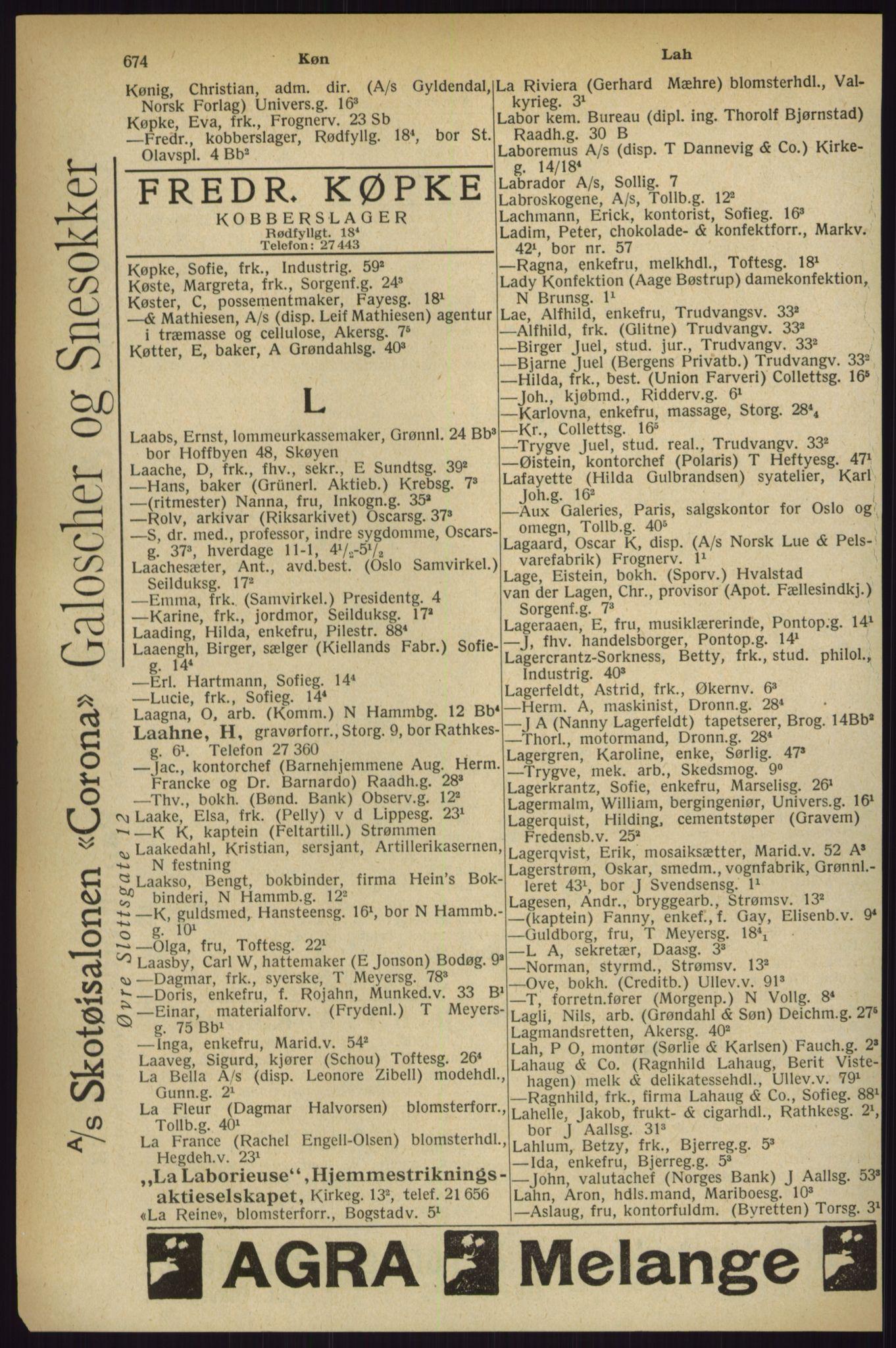 RA, Oslo adressebok (publikasjon)*, 1927, s. 674
