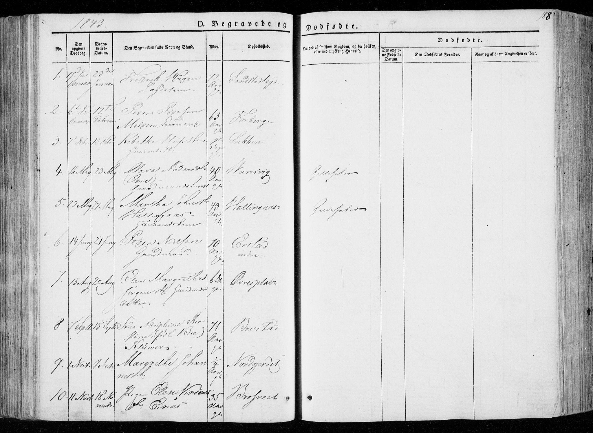 SAT, Ministerialprotokoller, klokkerbøker og fødselsregistre - Nord-Trøndelag, 722/L0218: Ministerialbok nr. 722A05, 1843-1868, s. 188