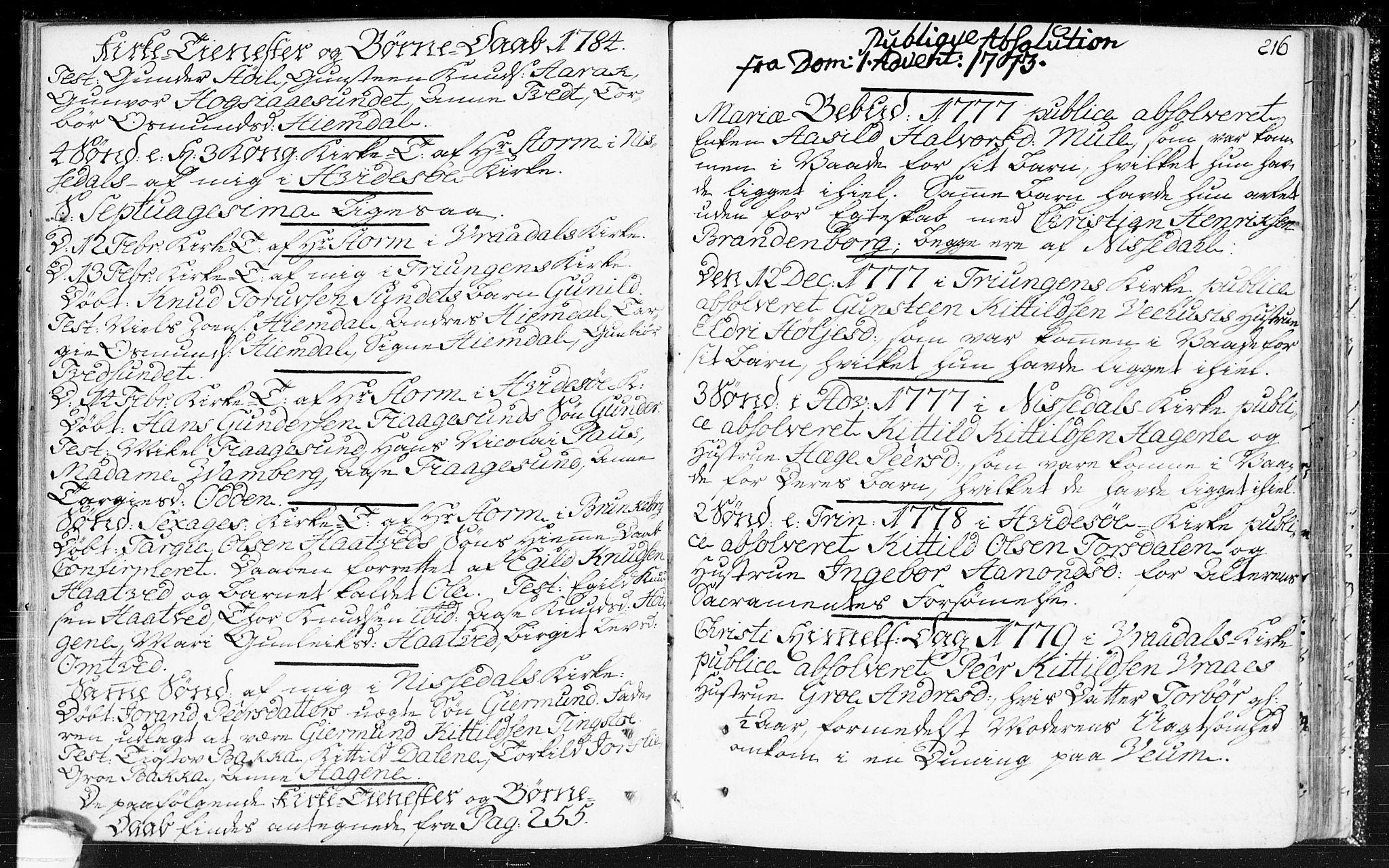SAKO, Kviteseid kirkebøker, F/Fa/L0002: Ministerialbok nr. I 2, 1773-1786, s. 216