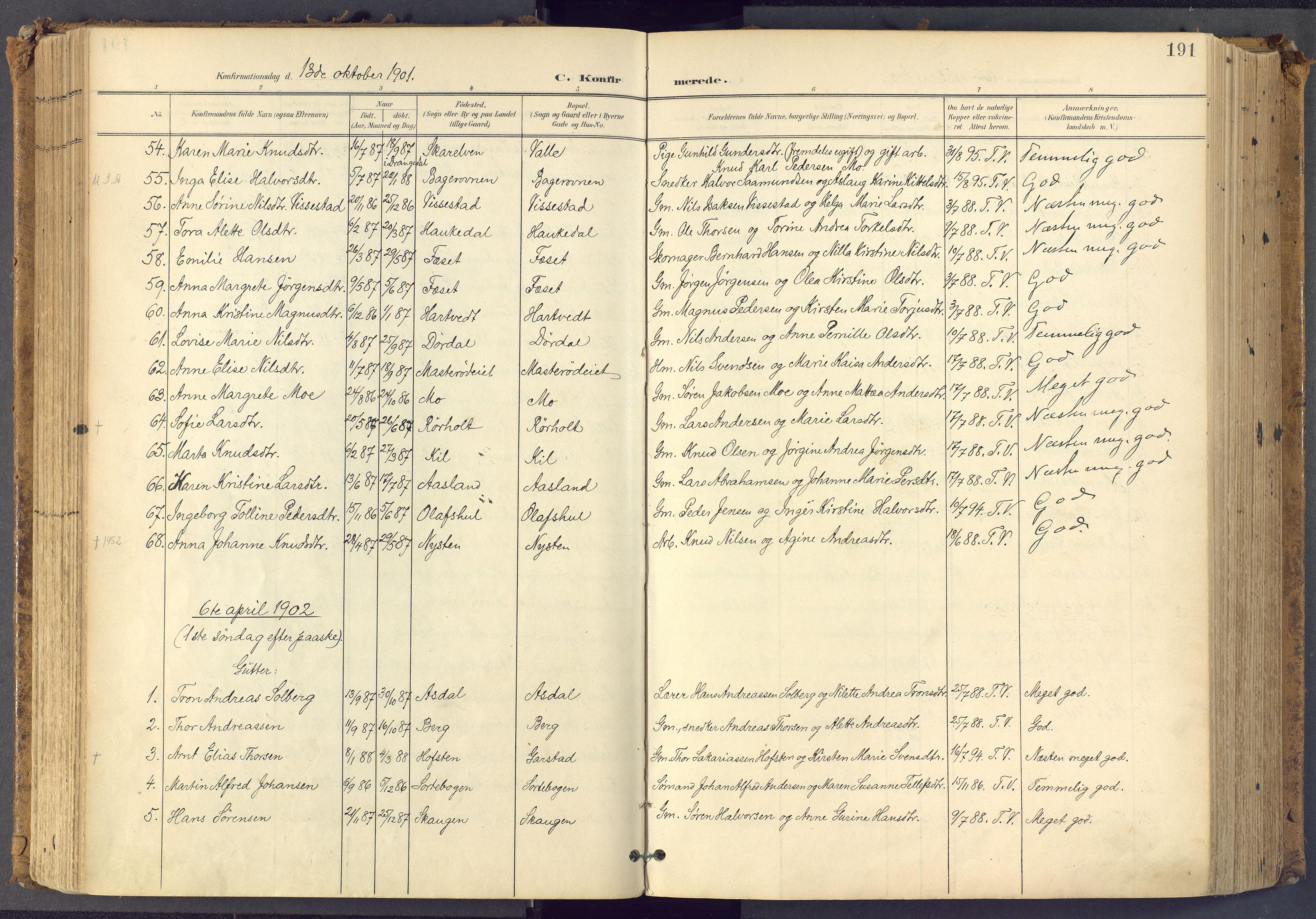 SAKO, Bamble kirkebøker, F/Fa/L0009: Ministerialbok nr. I 9, 1901-1917, s. 191