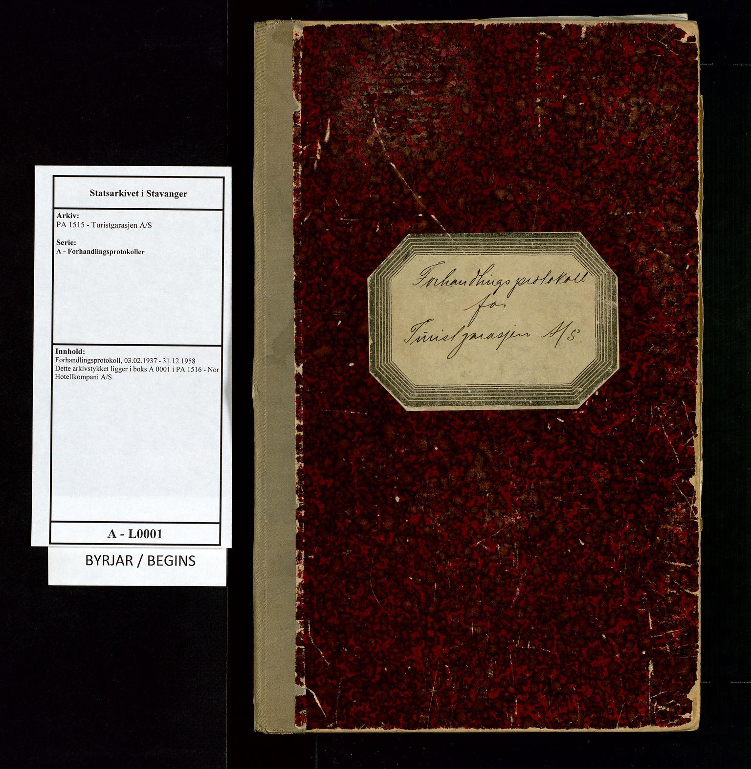 SAST, PA 1515 - Turistgarasjen A/S, A/L0001: Forhandlingsprotokoll, 1937-1958, s. 1
