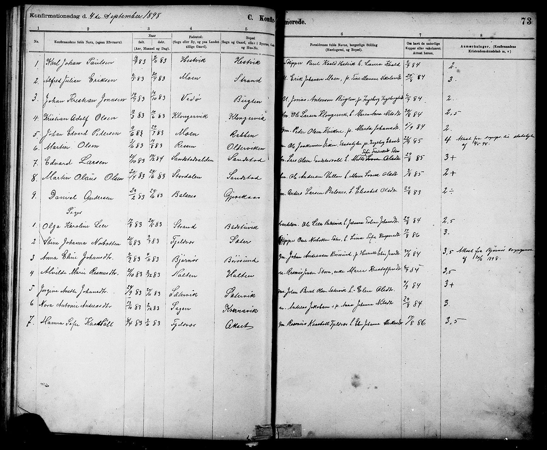 SAT, Ministerialprotokoller, klokkerbøker og fødselsregistre - Sør-Trøndelag, 639/L0573: Klokkerbok nr. 639C01, 1890-1905, s. 73