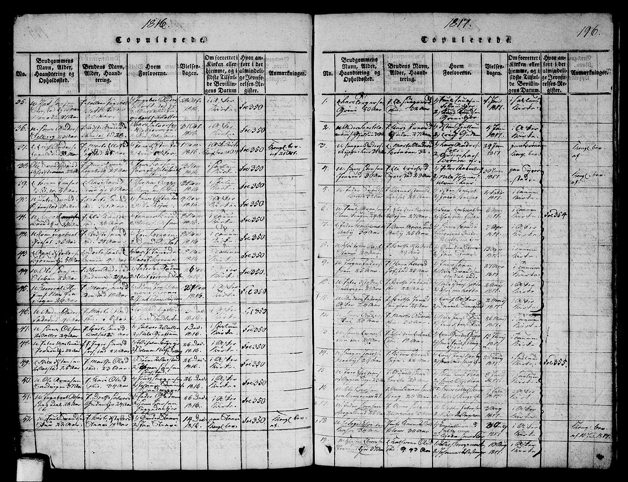 SAO, Asker prestekontor Kirkebøker, G/Ga/L0001: Klokkerbok nr. I 1, 1814-1830, s. 196