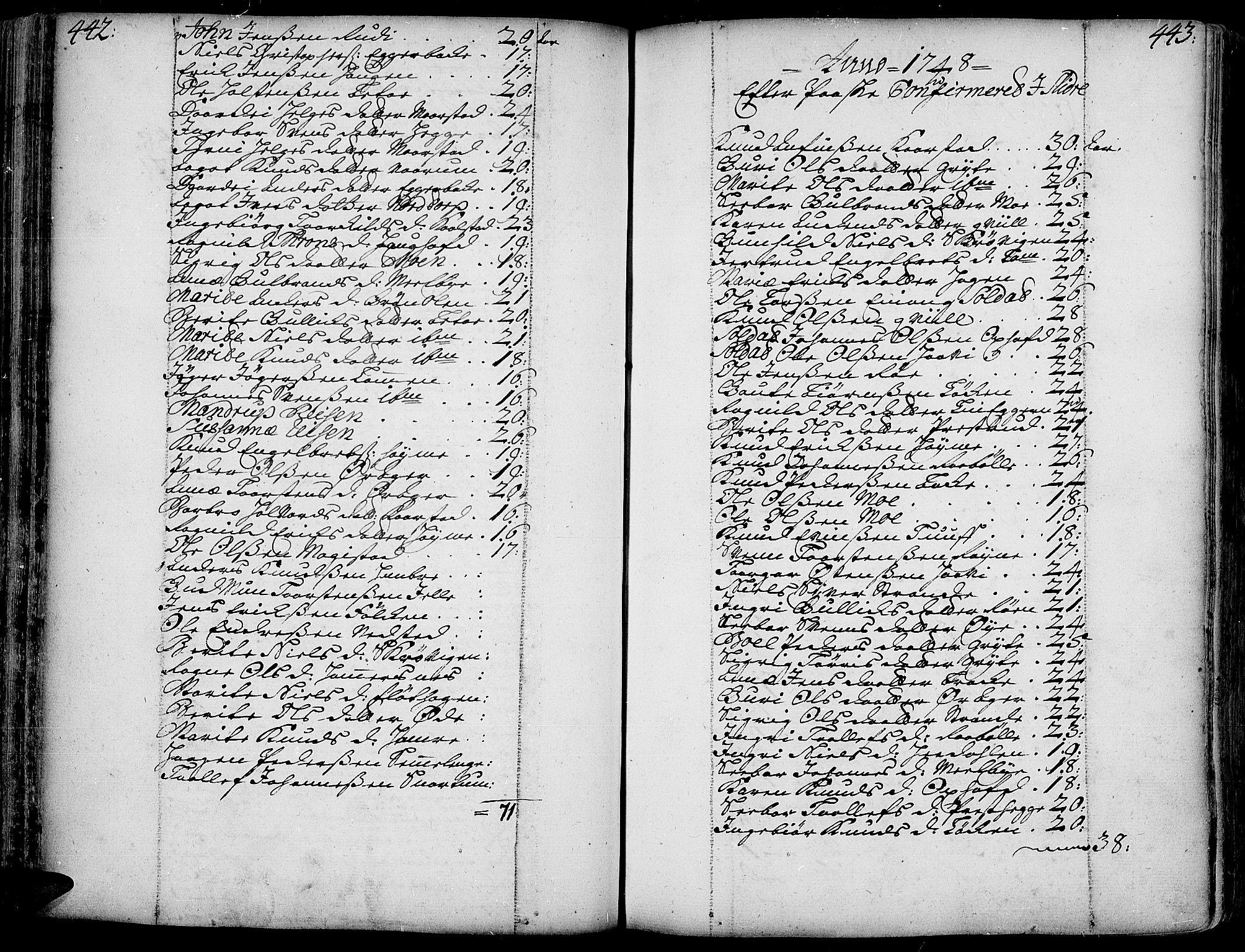 SAH, Slidre prestekontor, Ministerialbok nr. 1, 1724-1814, s. 442-443