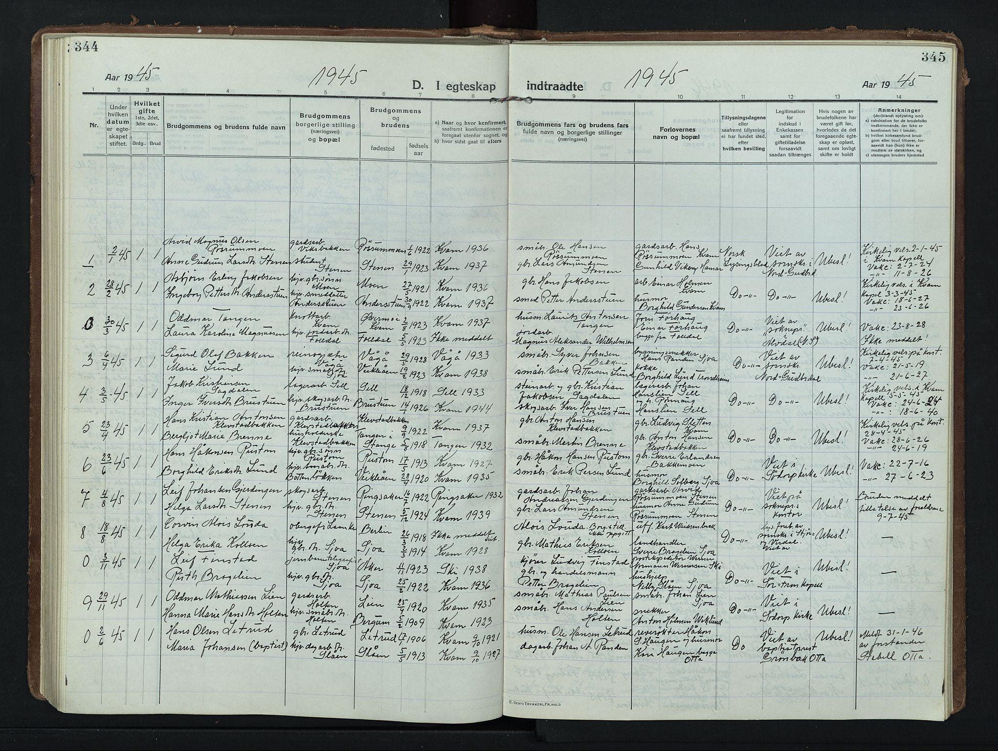 SAH, Nord-Fron prestekontor, Klokkerbok nr. 8, 1915-1948, s. 344-345