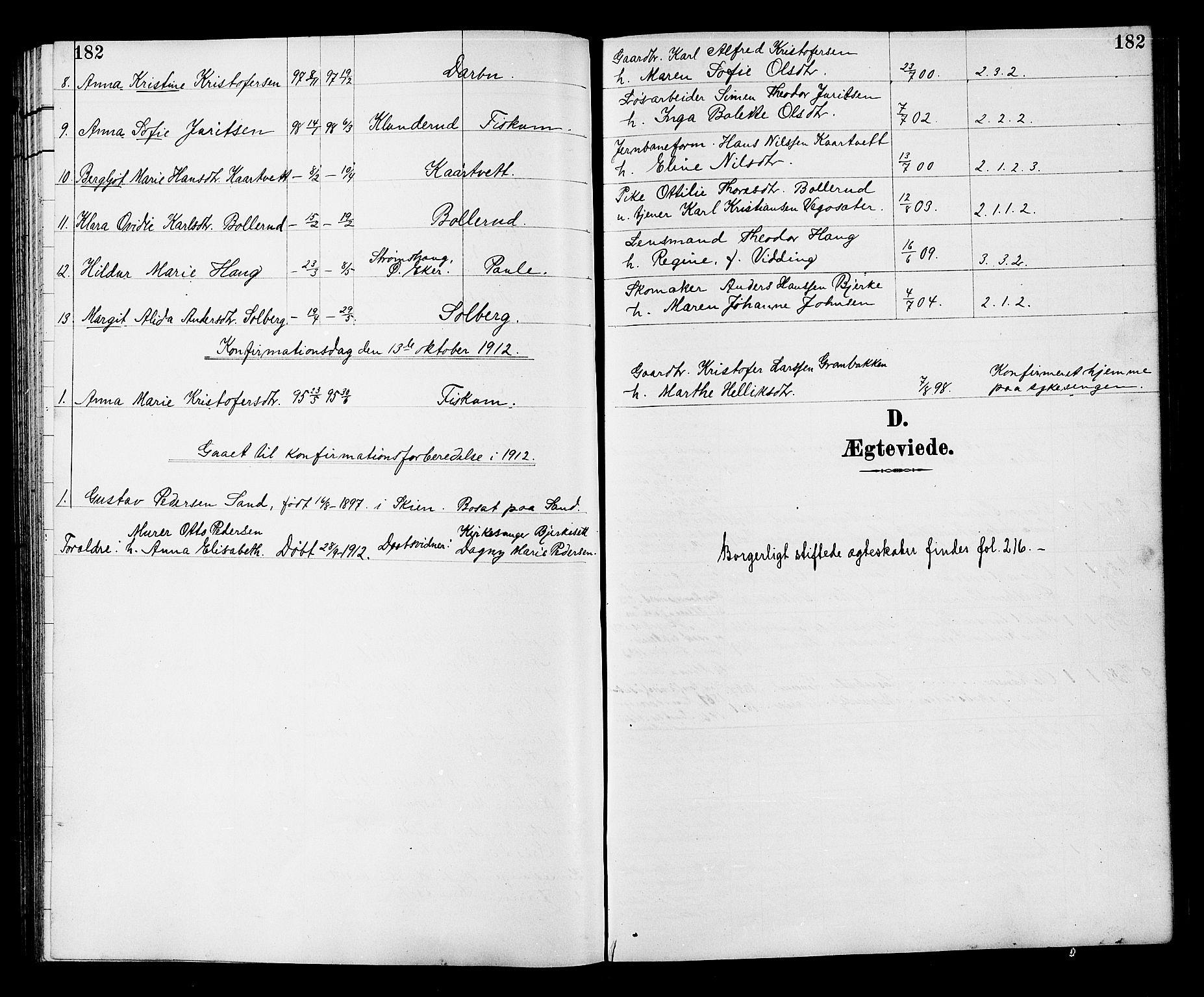 SAKO, Fiskum kirkebøker, G/Ga/L0005: Klokkerbok nr. 5, 1887-1912, s. 182