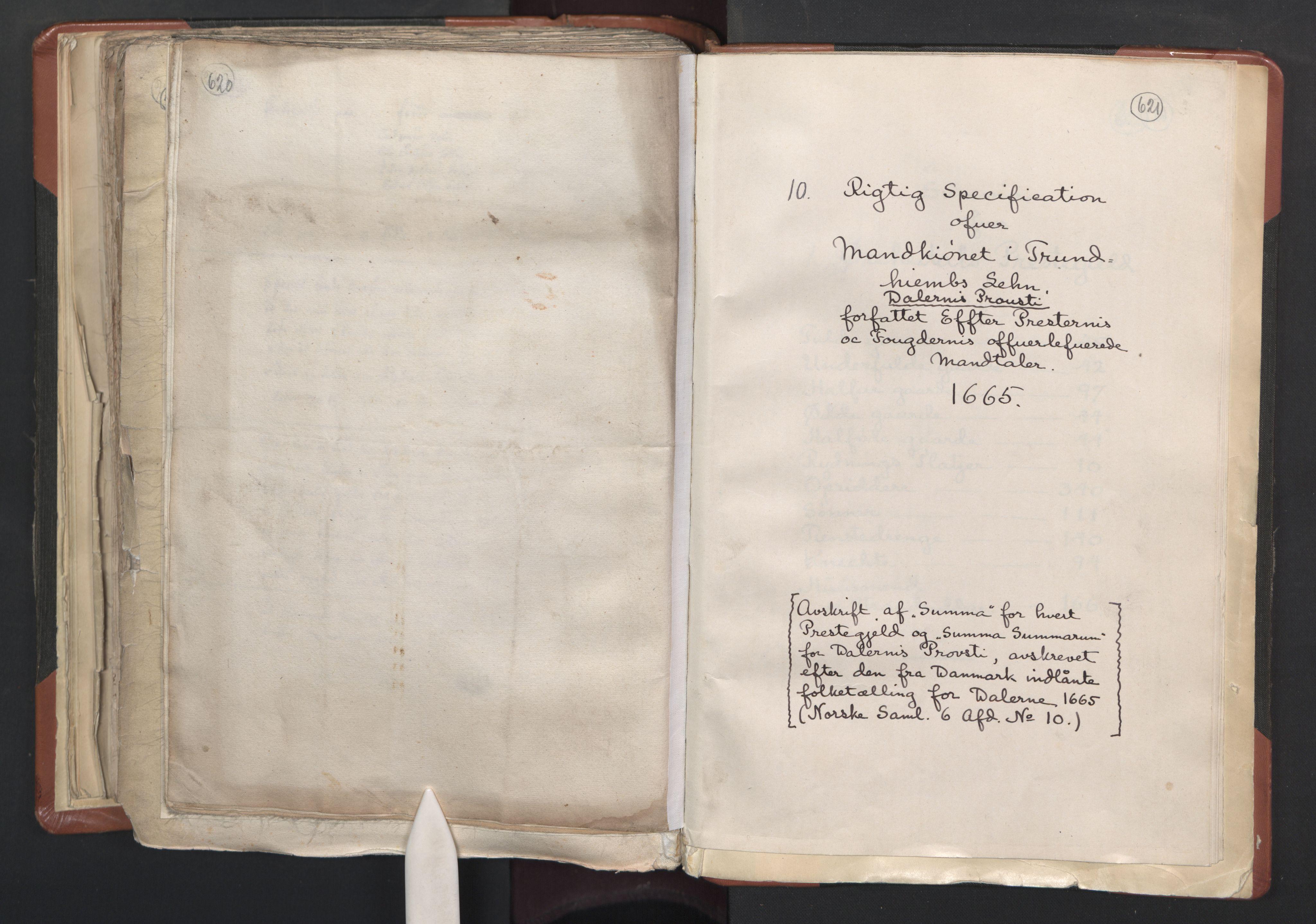 RA, Sogneprestenes manntall 1664-1666, nr. 31: Dalane prosti, 1664-1666, s. 620-621