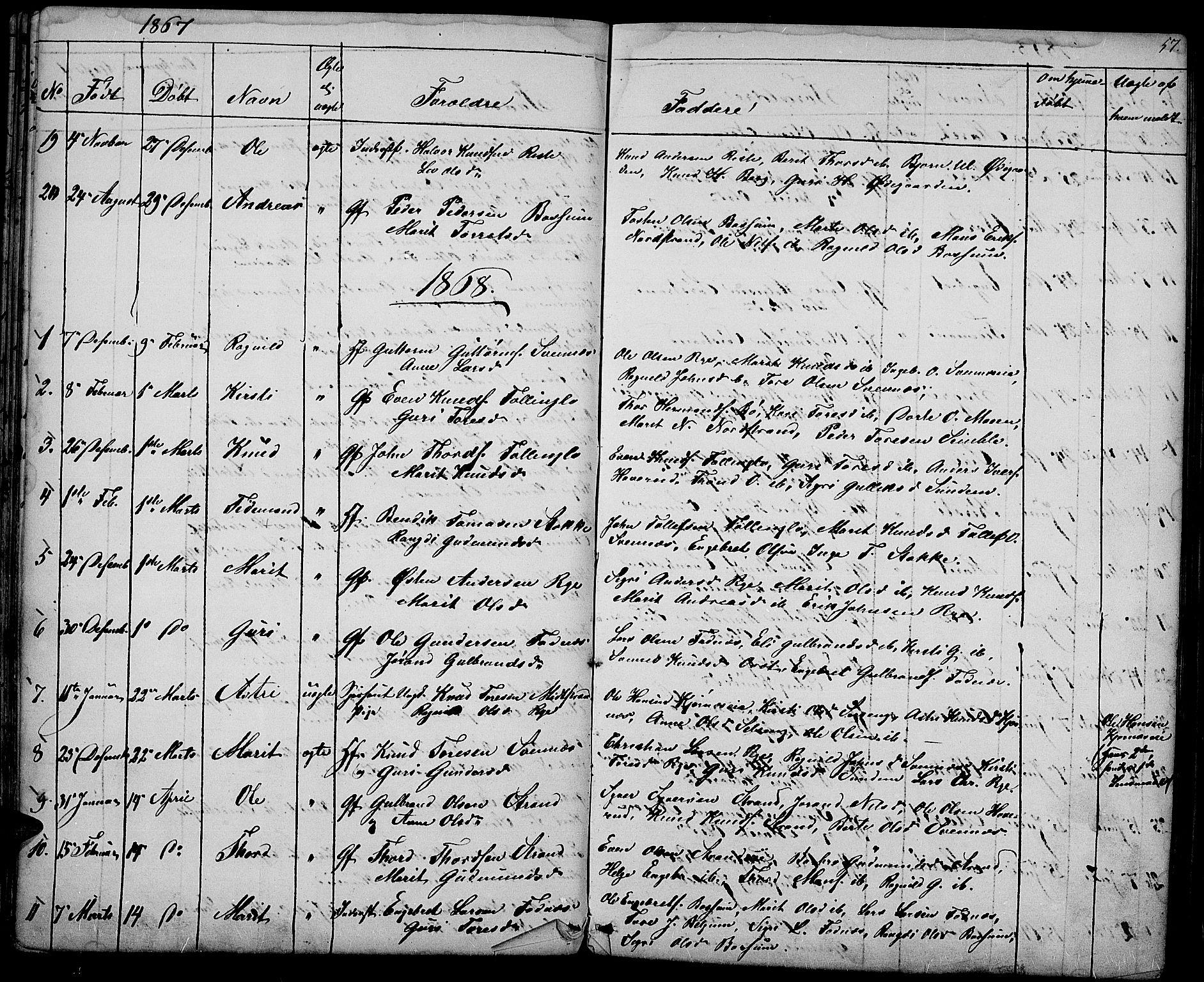 SAH, Nord-Aurdal prestekontor, Klokkerbok nr. 3, 1842-1882, s. 57