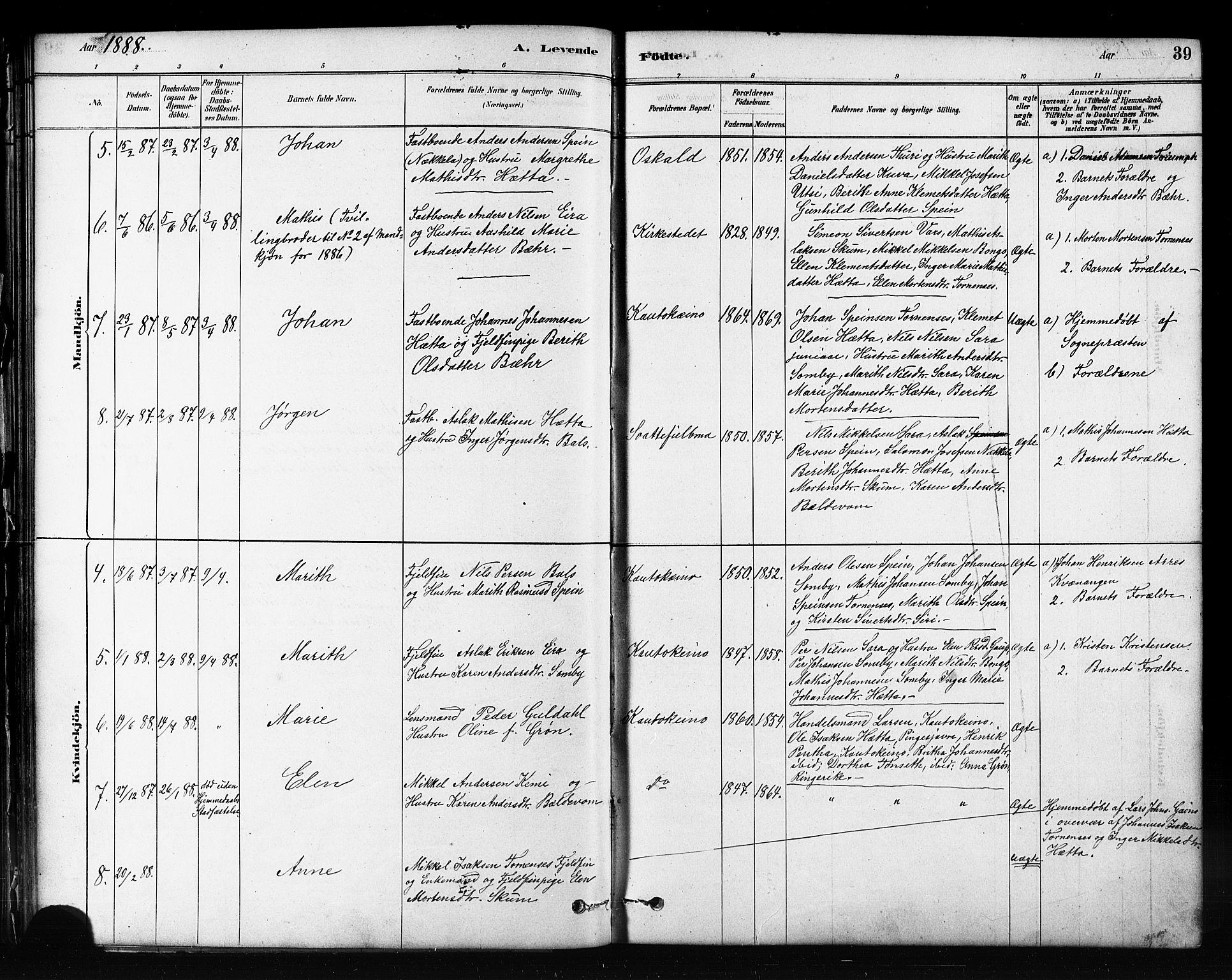 SATØ, Kautokeino sokneprestembete, H/Hb/L0002.klokk: Klokkerbok nr. 2, 1877-1896, s. 39