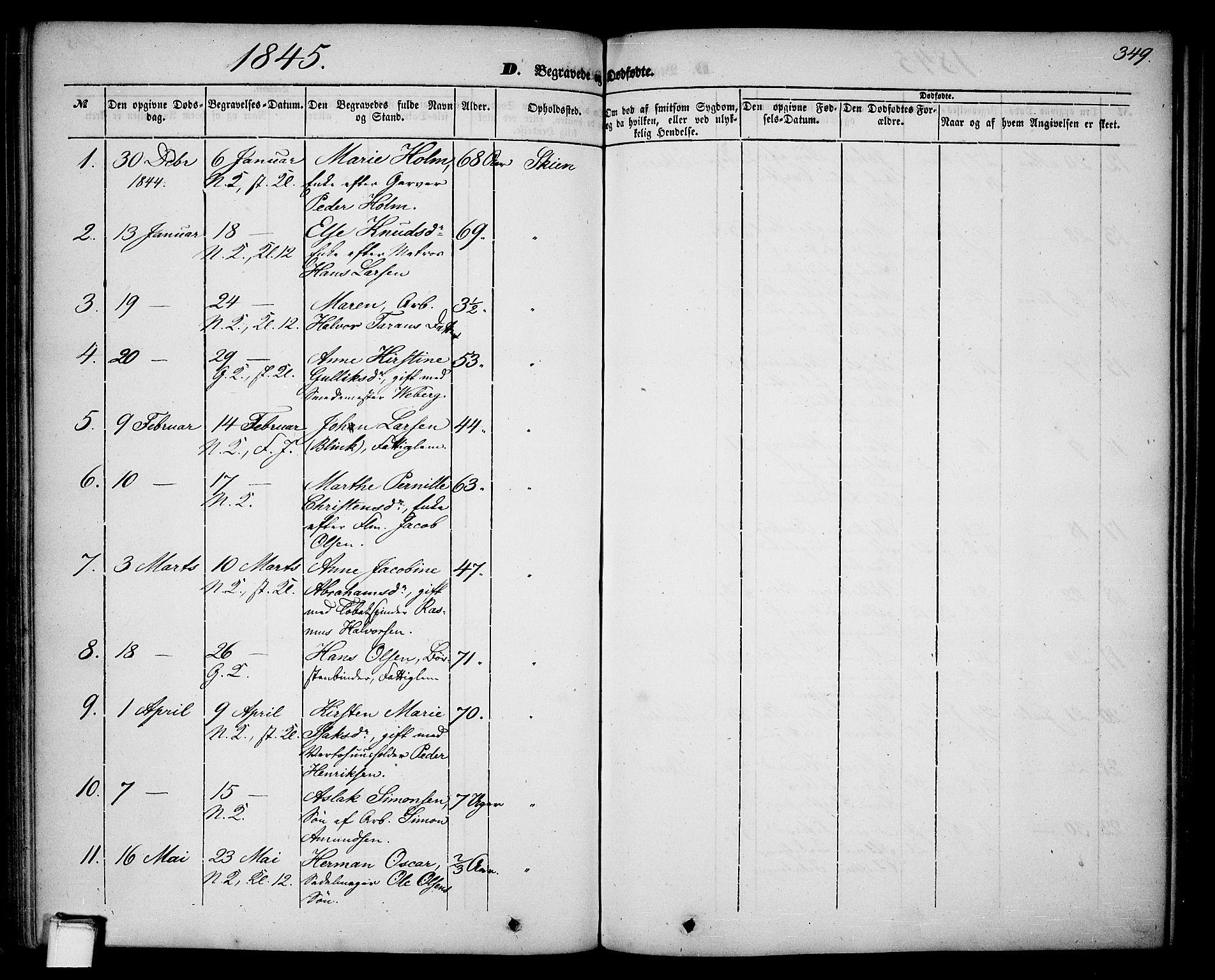 SAKO, Skien kirkebøker, G/Ga/L0004: Klokkerbok nr. 4, 1843-1867, s. 349