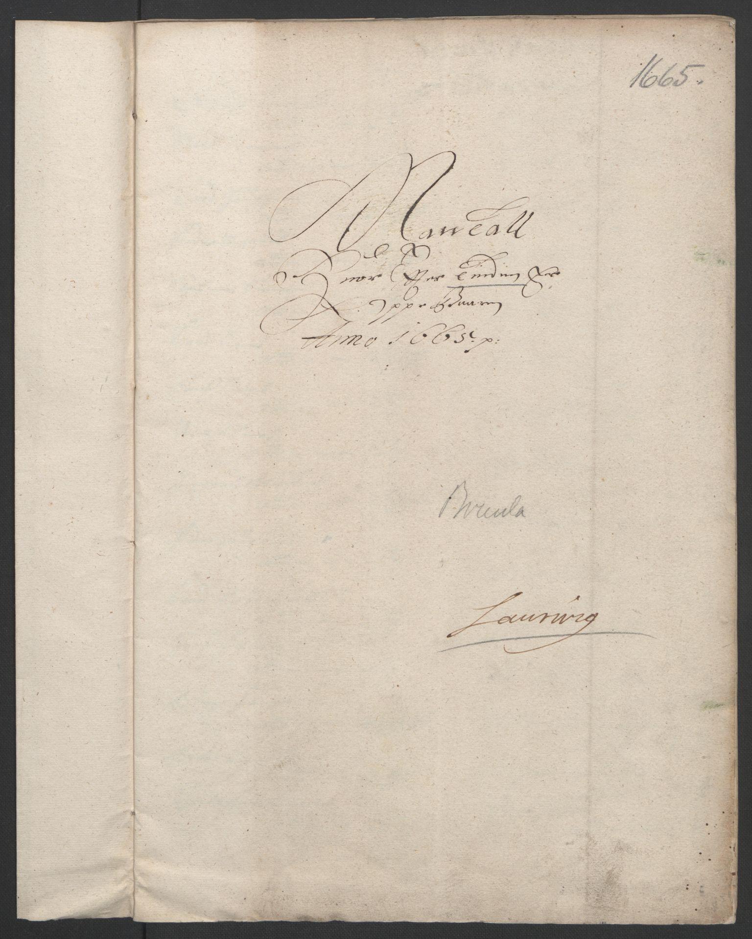 RA, Rentekammeret inntil 1814, Reviderte regnskaper, Fogderegnskap, R33/L1964: Fogderegnskap Larvik grevskap, 1665-1668, s. 20