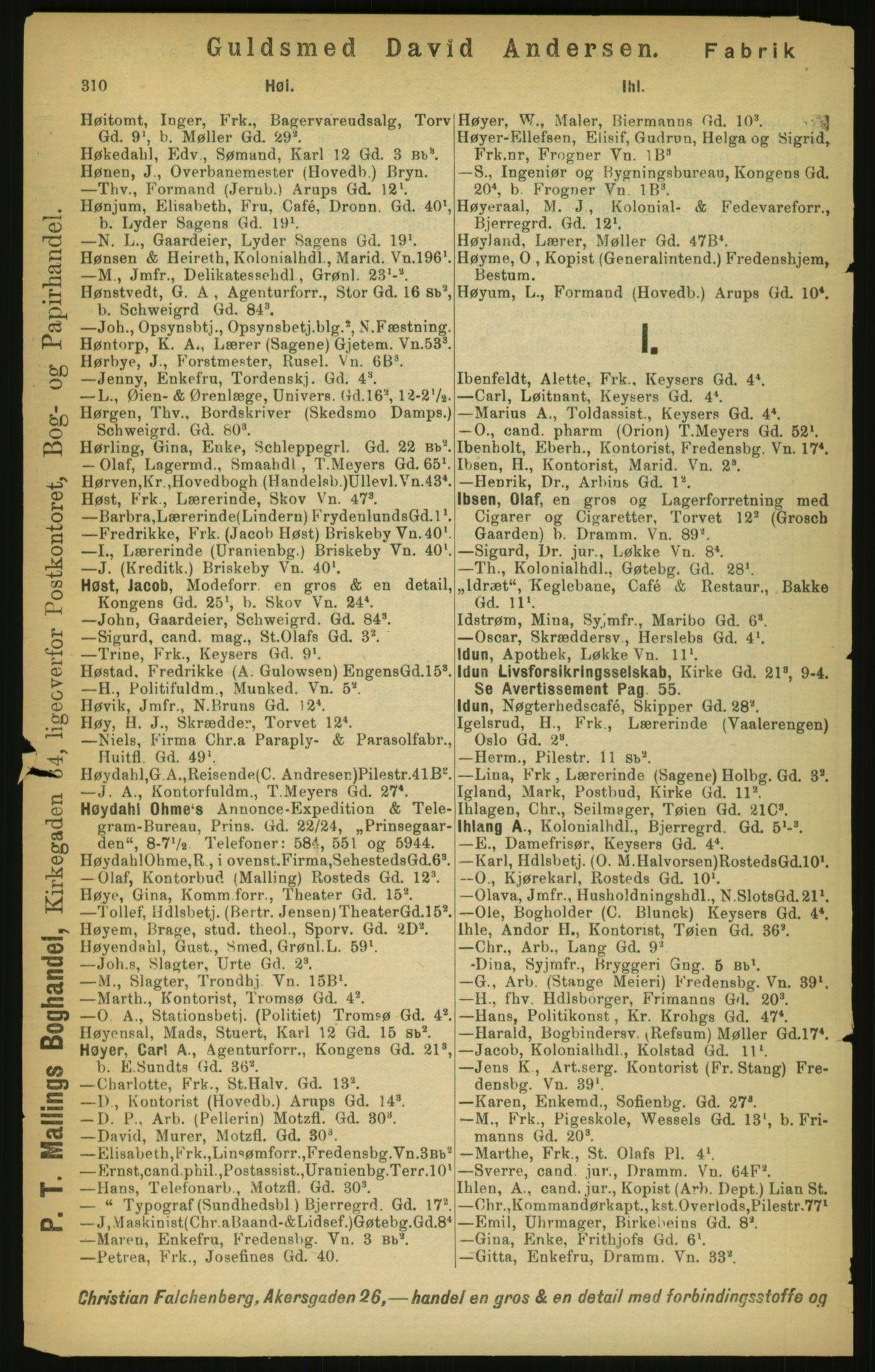 PUBL, Kristiania/Oslo adressebok, 1897, s. 310
