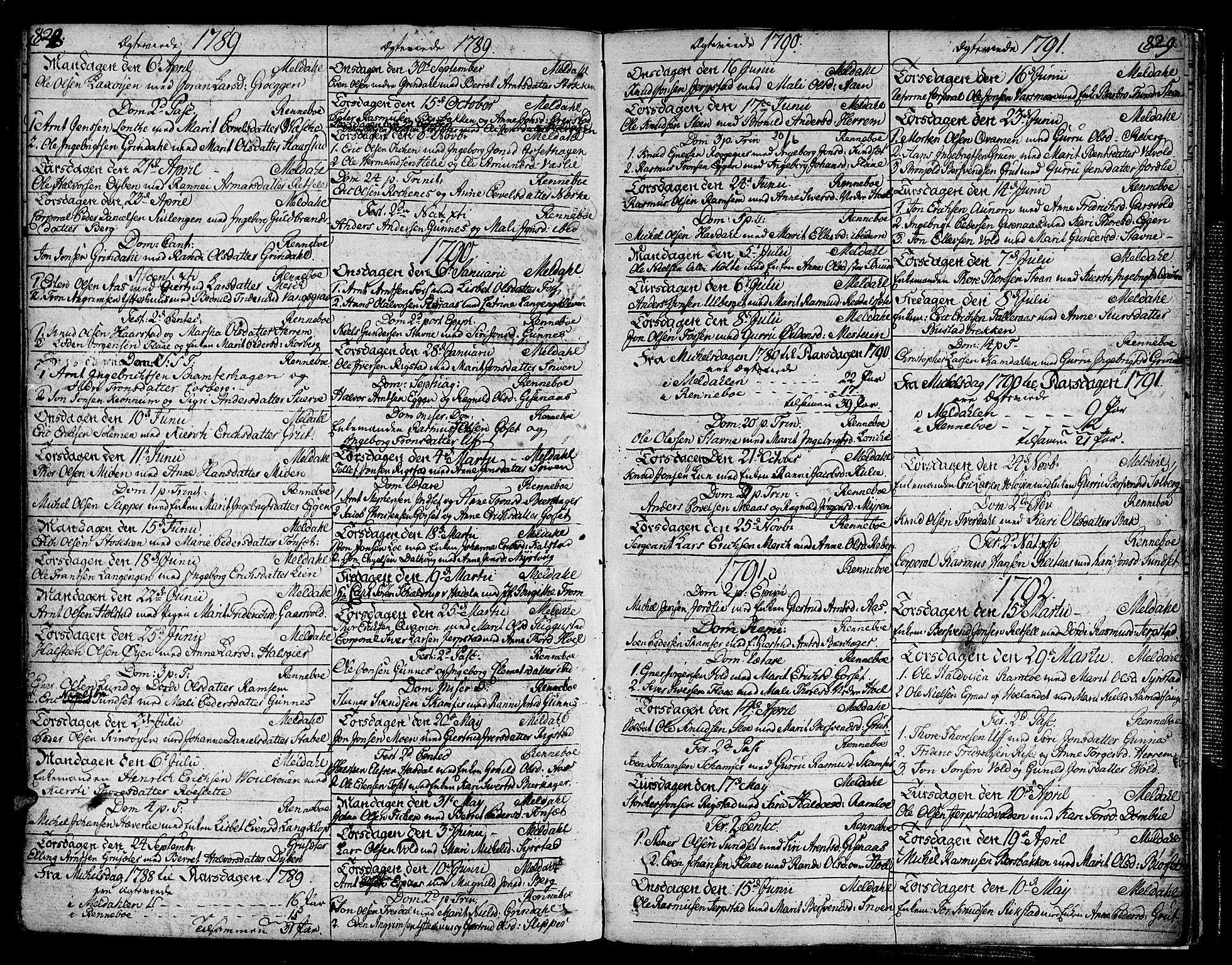 SAT, Ministerialprotokoller, klokkerbøker og fødselsregistre - Sør-Trøndelag, 672/L0852: Ministerialbok nr. 672A05, 1776-1815, s. 828-829